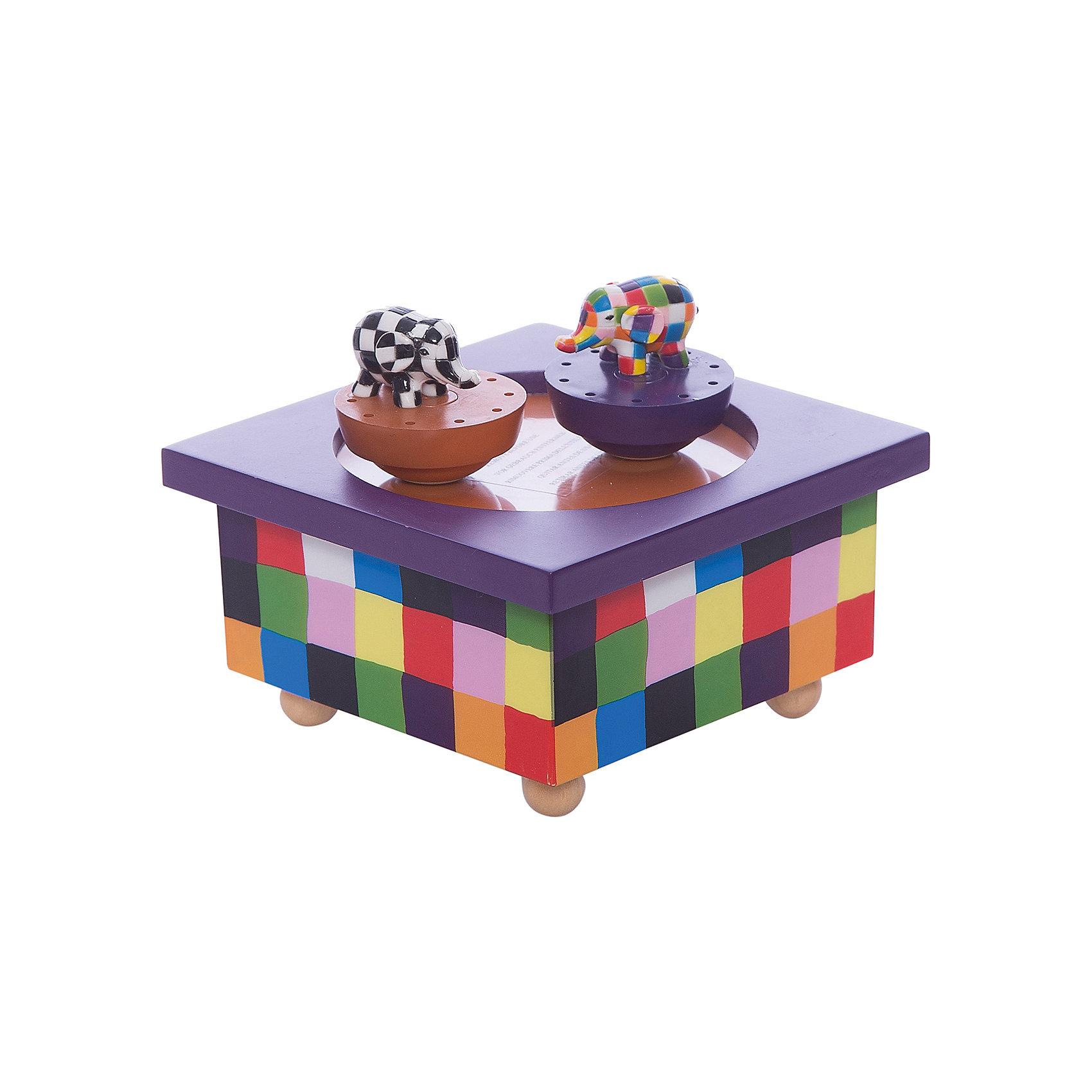 Музыкальная шкатулка Elmer©, TrousselierПредметы интерьера<br>Музыкальная шкатулка Elmer©, Trousselier<br><br>ВНИМАНИЕ! Шкатулка предназначена для декора комнаты, она не открывается и хранить в ней разные мелочи и бижутерию невозможно.<br><br>Музыкальная шкатулка - это мечта множества девчонок. Подарите девочке настоящую музыкальную шкатулку с заводным механизмом от французской компании Trousselier. Шкатулка проигрывает приятную мелодию, заводится с помощью ключика.<br>Она выглядит очень красиво - на ней симпатичные фигурки, которые кружатся при проигрывании мелодии. Шкатулка упакована в подарочную коробку производителя. Изделие произведено из высококачественных материалов, и соответствует европейским стандартам безопасности.<br><br>Дополнительная информация:<br><br>цвет: разноцветный;<br>материал: дерево;<br>подарочная упаковка;<br>заводной механизм;<br>размер: 11 х 11 х 7 см.<br><br>Музыкальную шкатулку Elmer© от французской компании Trousselier можно купить в нашем магазине.<br><br>Ширина мм: 114<br>Глубина мм: 114<br>Высота мм: 70<br>Вес г: 380<br>Возраст от месяцев: 12<br>Возраст до месяцев: 216<br>Пол: Унисекс<br>Возраст: Детский<br>SKU: 4961875