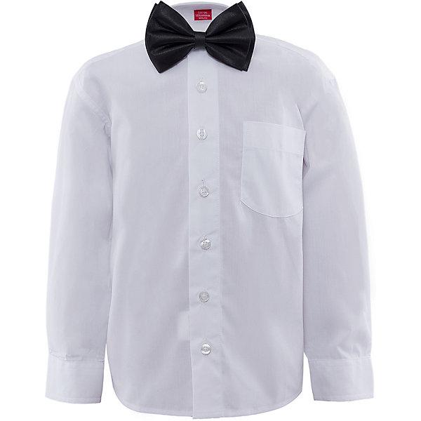 Рубашка с бабочкой для мальчика ImperatorБлузки и рубашки<br>Рубашка с бабочкой для мальчика от известного бренда Imperator.<br><br>Потрясающий комплект включает в себя белую сорочку и черную бабочку. Идеальный вариант для праздника. Пусть самый юный богатырь выглядит, как серьезный, взрослый, настоящий мужчина! Модель рубашки -классическая, на пуговицах, с отложным воротником. Свободный покрой не стесняет движения и позволяет чувствовать себя комфортно. <br><br>Состав:<br>55 % хлопок, 45% П/Э + 100% п/э<br><br>Ширина мм: 174<br>Глубина мм: 10<br>Высота мм: 169<br>Вес г: 157<br>Цвет: белый<br>Возраст от месяцев: 24<br>Возраст до месяцев: 36<br>Пол: Мужской<br>Возраст: Детский<br>Размер: 92/98,104/110,116/122,110/116,98/104<br>SKU: 4963314