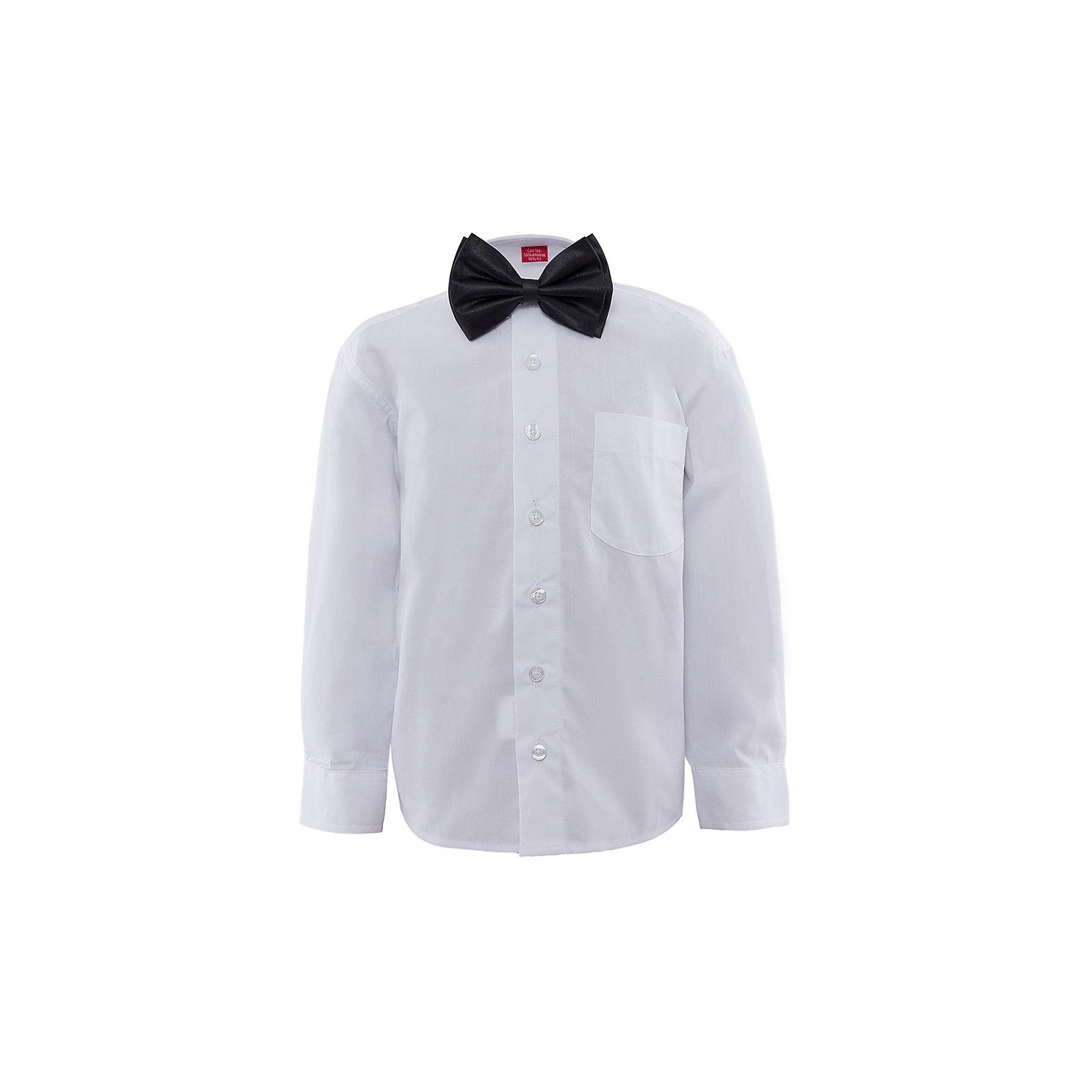 Рубашка с бабочкой для мальчика ImperatorБлузки и рубашки<br>Рубашка с бабочкой для мальчика от известного бренда Imperator.<br><br>Потрясающий комплект включает в себя белую сорочку и черную бабочку. Идеальный вариант для праздника. Пусть самый юный богатырь выглядит, как серьезный, взрослый, настоящий мужчина! Модель рубашки -классическая, на пуговицах, с отложным воротником. Свободный покрой не стесняет движения и позволяет чувствовать себя комфортно. <br><br>Состав:<br>55 % хлопок, 45% П/Э + 100% п/э<br><br>Ширина мм: 174<br>Глубина мм: 10<br>Высота мм: 169<br>Вес г: 157<br>Цвет: белый<br>Возраст от месяцев: 48<br>Возраст до месяцев: 60<br>Пол: Мужской<br>Возраст: Детский<br>Размер: 104/110,92/98,98/104,110/116,116/122<br>SKU: 4963314
