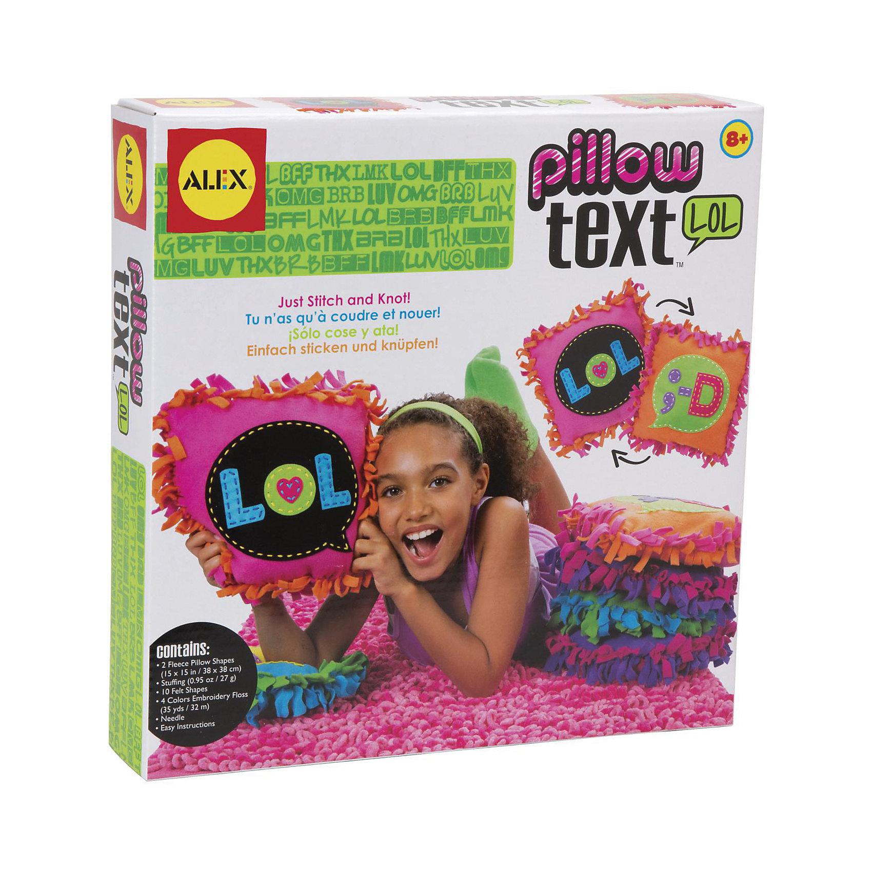 Набор для создания подушки LOL, ALEXНабор для создания подушки LOL безусловно подойдет для творчества и времяпровождения с друзьями. Прекрасное сочетания ярких цветов и  текста идеально дополнят дизайн подушки. Следуйте простым инструкциям, чтобы сшить, набить и завязать края. У вас  получится красочная подушка, которая выразит ваши чувства и настроение.  <br>                                                                                                           Дополнительная информация:          <br>Состав: 2  кусочка флисовой ткани, вырезанные формы, мулине(4 цвета), иголка и инструкция<br>Вес: 320 грамм<br>Размер: 25,4х5х25,4 см                                                          <br><br>Набор для создания подушки LOL  Вы можете приобрести в нашем интернет магазине.<br><br>Ширина мм: 254<br>Глубина мм: 50<br>Высота мм: 254<br>Вес г: 320<br>Возраст от месяцев: 72<br>Возраст до месяцев: 144<br>Пол: Женский<br>Возраст: Детский<br>SKU: 4963324