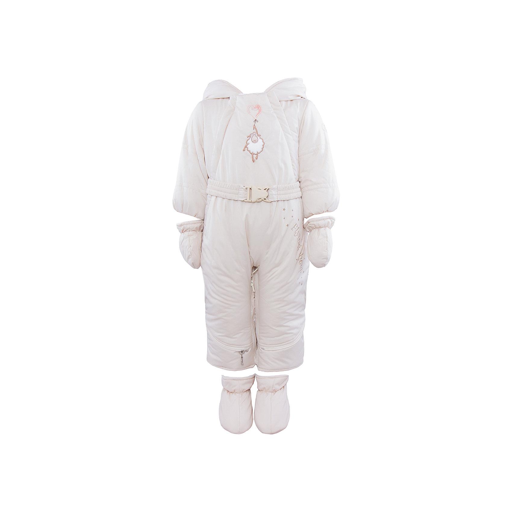 Комбинезон-трансформер АртельКомбинезон-трансформер от известного бренда Артель<br>Комбинезон-трансформер - это отличный вариант одежды для прогулок в холодное время года. Он выполняет функцию полноценного костюма с ножками, в котором удобно носить ребенка на руках, или перевозить в автокресле и теплого уютного спального конверта, в котором ребенку комфортно находиться в коляске. Комбинезон трансформируется в конверт с помощью дополнительных молний. Данная модель комплектуется пинетками и варежками. Глубокий капюшон плотно прилегает к лицу, за счет мягкого трикотажного подвяза. По линии талии есть пояс с декоративной пряжкой, на груди - вышивка в виде барашка.<br>Состав:<br>Верх:Dewspo FD<br>Подкладка: интерлок<br>Утеплитель: термофайбер 200г<br><br>Ширина мм: 356<br>Глубина мм: 10<br>Высота мм: 245<br>Вес г: 519<br>Цвет: бежевый<br>Возраст от месяцев: 2<br>Возраст до месяцев: 5<br>Пол: Унисекс<br>Возраст: Детский<br>Размер: 62,74,68<br>SKU: 4963427