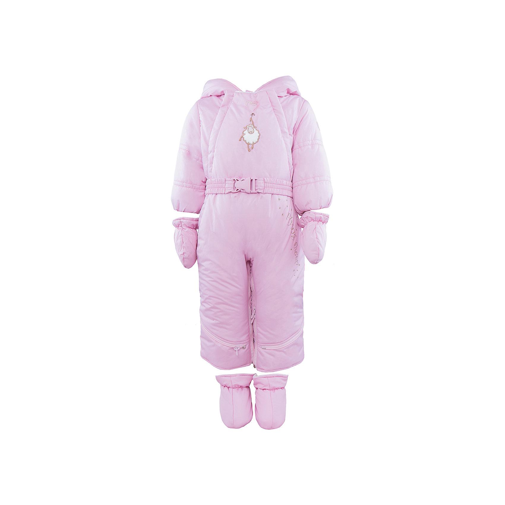 Комбинезон-трансформер для девочки АртельКомбинезон-трансформер для девочки от известного бренда Артель<br>Комбинезон-трансформер - это отличный вариант одежды для прогулок в холодное время года. Он выполняет функцию полноценного костюма с ножками, в котором удобно носить ребенка на руках, или перевозить в автокресле и теплого уютного спального конверта, в котором ребенку комфортно находиться в коляске. Комбинезон трансформируется в конверт с помощью дополнительных молний. Данная модель комплектуется пинетками и варежками. Глубокий капюшон плотно прилегает к лицу, за счет мягкого трикотажного подвяза. По линии талии есть пояс с декоративной пряжкой, на груди - вышивка в виде барашка.<br>Состав:<br>Верх:Dewspo FD<br>Подкладка: интерлок<br>Утеплитель: термофайбер 200г<br><br>Ширина мм: 356<br>Глубина мм: 10<br>Высота мм: 245<br>Вес г: 519<br>Цвет: розовый<br>Возраст от месяцев: 2<br>Возраст до месяцев: 5<br>Пол: Женский<br>Возраст: Детский<br>Размер: 62,74,68<br>SKU: 4963435