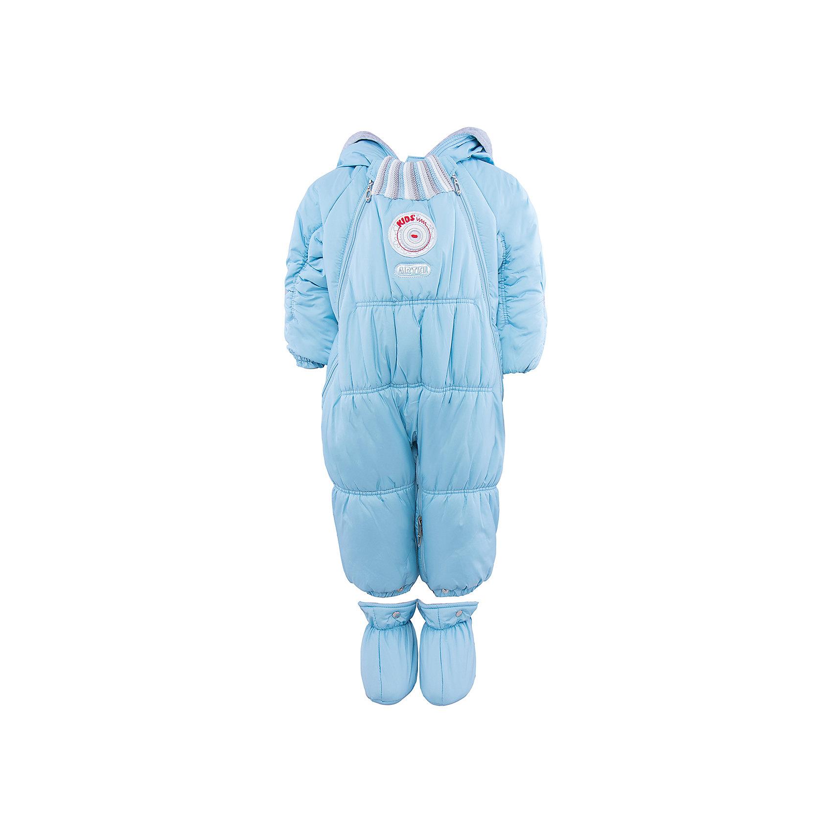 Комбинезон-трансформер для мальчика АртельВерхняя одежда<br>Комбинезон-трансформер для мальчика от известного бренда Артель<br>Комбинезон-трансформер - это отличный вариант одежды для прогулок в холодное время года. Он выполняет функцию полноценного костюма с ножками, в котором удобно носить ребенка на руках, или перевозить в автокресле и теплого уютного спального конверта, в котором ребенку комфортно находиться в коляске. Комбинезон трансформируется в конверт с помощью дополнительных молний. <br>Состав:<br>Верх: YSD 819<br>Подкладка: интерлок<br>Утеплитель: термофайбер 200гр<br><br>Ширина мм: 356<br>Глубина мм: 10<br>Высота мм: 245<br>Вес г: 519<br>Цвет: голубой<br>Возраст от месяцев: 6<br>Возраст до месяцев: 9<br>Пол: Мужской<br>Возраст: Детский<br>Размер: 74,62,68<br>SKU: 4963473