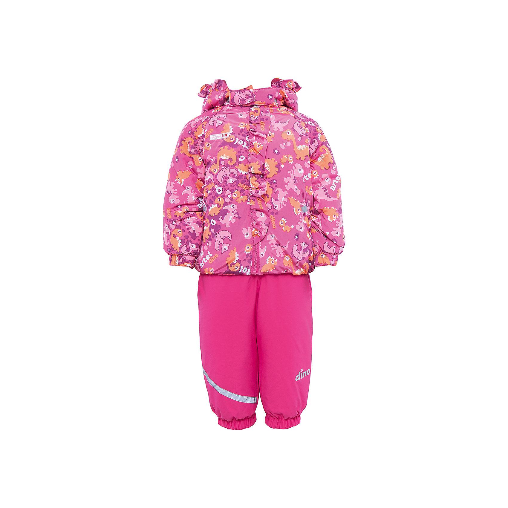 Комплект: куртка и полукомбинезон АртельВерхняя одежда<br>Комплект: куртка и полукомбинезон от известного бренда Артель<br>Комплект на современном утеплителеиз мембранной ткани, позволит малышу долго гулять даже в самую слякотную погоду, кататься с мокрых горок и не промокнуть. Куртка выполнена из ткани с оригинальным принтом динозавриков. Центральный замок на молнию прикрыт декоративной планкой-рюшей. Функцию дополнительной защиты от ветра выполняют: глубокий капюшон с резинкой по краю, кулиска с резинкой по низу куртки и резинка с флисовой внутренней вставкой на рукавах. У полукомбинезона регулируется длина бретелек. По низу штанишек расположены штрипки, которые фиксируются на сапожках, удерживают штанину от задирания и обеспечивают дополнительную защиту от скольжения. Сзади, по линии талии, для дополнительной фиксации, расположена резинка.<br>Состав:<br>Верх: КВ-703<br>Подкладка: интерлок, ПЭ<br>Утеплитель: термофин 200гр<br><br>Ширина мм: 215<br>Глубина мм: 88<br>Высота мм: 191<br>Вес г: 336<br>Цвет: розовый<br>Возраст от месяцев: 12<br>Возраст до месяцев: 15<br>Пол: Женский<br>Возраст: Детский<br>Размер: 80,98,92,104,110,86<br>SKU: 4963907