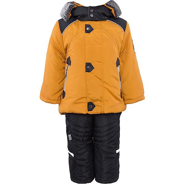 Комплект: куртка и полукомбинезон для мальчика АртельВерхняя одежда<br>Комплект: куртка и полукомбинезон для мальчика от известного бренда Артель<br>Теплая куртка прямого силуэта с дополнительной меховой подстежкой. Съемный глубокий капюшон, выполненный измембранной ткани, с опушкой из искусственной овчины, вязаные манжеты в рукавах и кулиска по низу куртки создают дополнительную защиту в холодное время года. Отворотный рукав регулируется по длине, карманы прорезные на молнии. У полукомбинезона регулируется длина бретелек и отворачивается низ штанишек, что позволит индивидуально для каждого ребенка скорректировать посадку изделия. По низу штанины имеется дополнительная защита от снега из мембранной ткани<br>Состав:<br>Верх: FITSYSTEM 1227<br>Подкладка: интерлок<br>Утеплитель: термофайбер 200гр<br>Подстежка: овчина<br>Полукомбинезон:<br>Верх: Prince<br>Подкладка: тиси<br>Утеплитель: термофайбер 200гр<br>Ширина мм: 215; Глубина мм: 88; Высота мм: 191; Вес г: 336; Цвет: желтый; Возраст от месяцев: 12; Возраст до месяцев: 15; Пол: Мужской; Возраст: Детский; Размер: 104,98,92,86,80; SKU: 4963947;