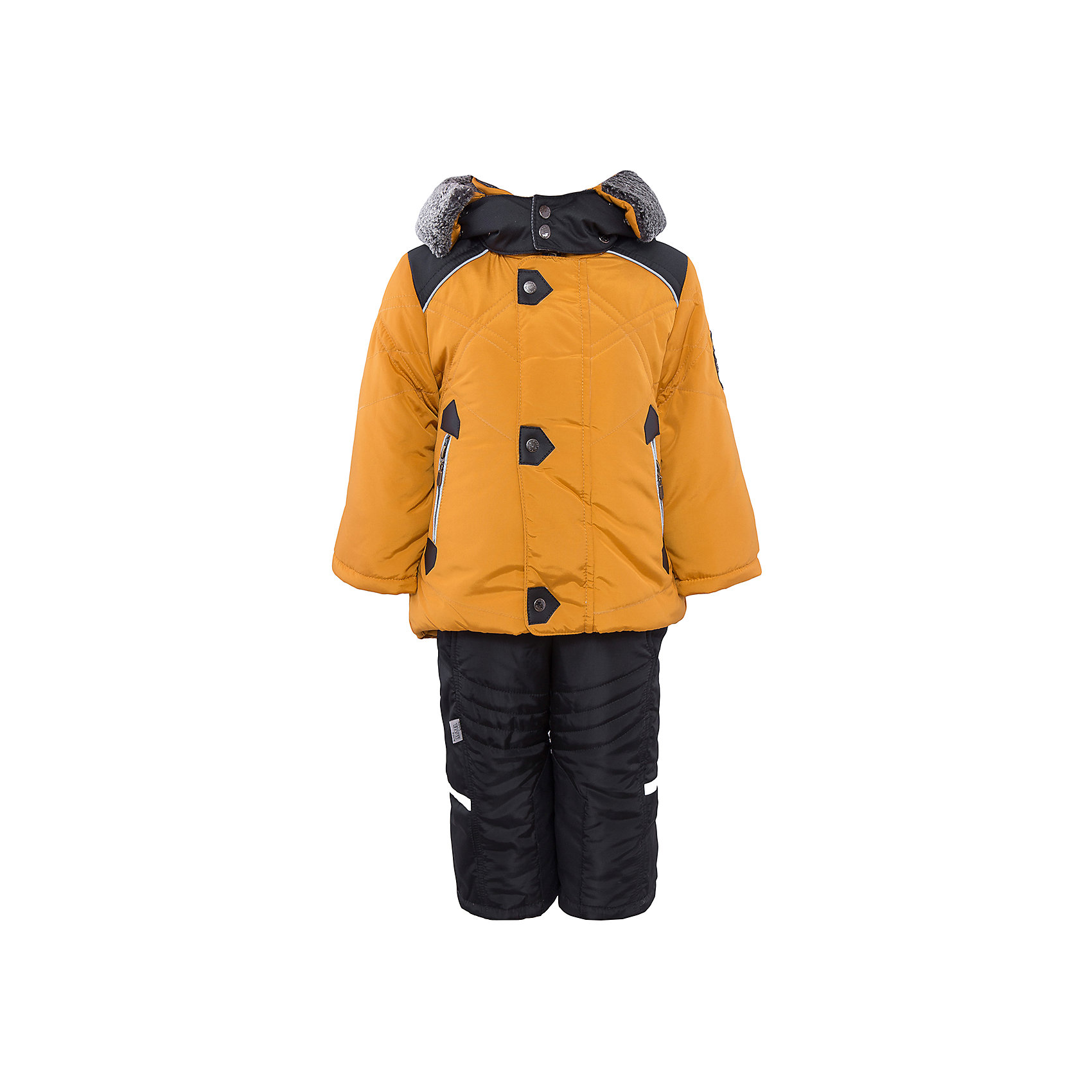 Комплект: куртка и полукомбинезон для мальчика АртельВерхняя одежда<br>Комплект: куртка и полукомбинезон для мальчика от известного бренда Артель<br>Теплая куртка прямого силуэта с дополнительной меховой подстежкой. Съемный глубокий капюшон, выполненный измембранной ткани, с опушкой из искусственной овчины, вязаные манжеты в рукавах и кулиска по низу куртки создают дополнительную защиту в холодное время года. Отворотный рукав регулируется по длине, карманы прорезные на молнии. У полукомбинезона регулируется длина бретелек и отворачивается низ штанишек, что позволит индивидуально для каждого ребенка скорректировать посадку изделия. По низу штанины имеется дополнительная защита от снега из мембранной ткани<br>Состав:<br>Верх: FITSYSTEM 1227<br>Подкладка: интерлок<br>Утеплитель: термофайбер 200гр<br>Подстежка: овчина<br>Полукомбинезон:<br>Верх: Prince<br>Подкладка: тиси<br>Утеплитель: термофайбер 200гр<br><br>Ширина мм: 215<br>Глубина мм: 88<br>Высота мм: 191<br>Вес г: 336<br>Цвет: желтый<br>Возраст от месяцев: 12<br>Возраст до месяцев: 15<br>Пол: Мужской<br>Возраст: Детский<br>Размер: 80,104,86,98,92<br>SKU: 4963947