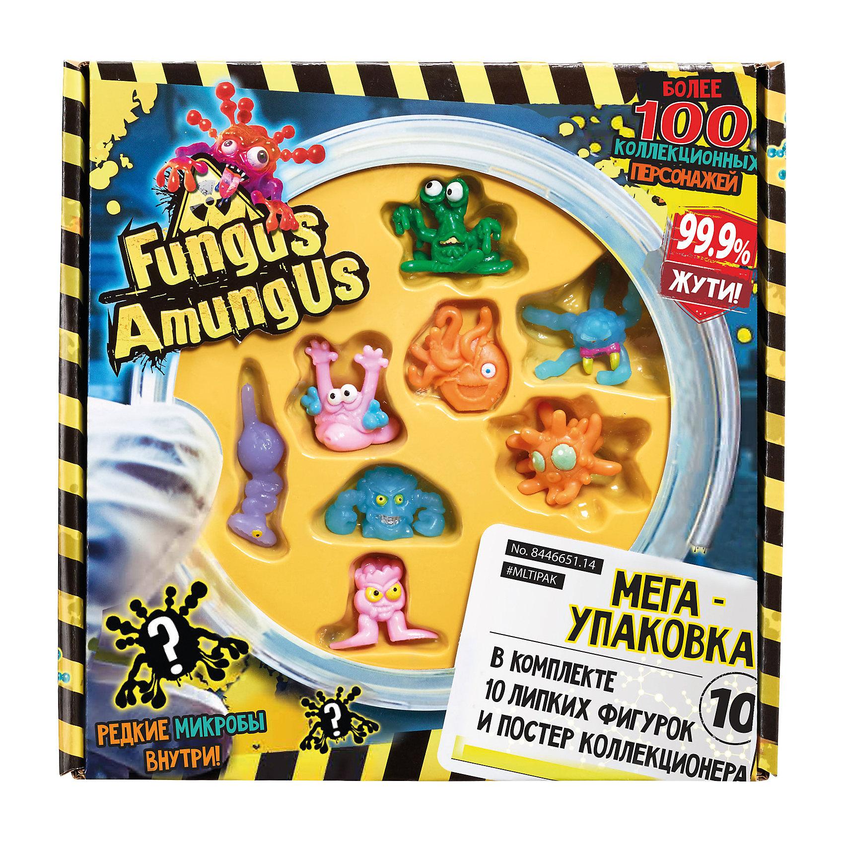 Набор из 10 фигурок микробов Fungus Amungus, VividМир животных<br>Игровой набор Fungus Amungus (Фунгус Амунгус) из 10 фигурок микробов от торговой марки Vivid - это замечательное собрание коварных монстров, которые готовы вырваться на свободу и начать устраивать различные шалости! Фигурки выполнены из расплющивающегося, растягивающегося и липкого пластика в ярких цветах. Так, к примеру, можно кинуть какого-нибудь микроба в стену, а он прилипнет к ней и будет сползать вниз! А если смять другого, то он без труда,  вернет себе привычную форму. Не все фигурки можно разглядеть через красочную блистерную упаковку, кто спрятан в коробке, можно узнать только, открыв ее, и это придает процессу коллекционирования больше азарта. Собрав полную коллекцию, юные коллекционеры смогут обмениваться фигурками с друзьями. С этими забавными фигурками будет легко придумать различные игровые сюжеты, развивая тем самым воображение. Микробы Fungus Amungus, помимо своих возможностей, привлекают к себе внимание невероятным внешним видом и расцветкой.<br><br>Дополнительная информация:<br><br>- возраст: от 4 лет<br>- пол: для мальчиков<br>- комплект: 10 липких фигурок, постер коллекционера.<br>-  материал: пластичный пластик.<br>- размер упаковки: 27 * 24 * 15 см.<br>- размер одной фигурки: около 3.5 см.<br>- вес: 0.5 кг.<br>- упаковка: картонная коробка.<br>- бренд: Vivid<br>- страна обладатель бренда: Великобритания.<br><br>Набор из 10 фигурок микробов Fungus Amungus,  торговой марки Vivid  можно купить в нашем интернет-магазине<br><br>Ширина мм: 223<br>Глубина мм: 223<br>Высота мм: 45<br>Вес г: 240<br>Возраст от месяцев: 48<br>Возраст до месяцев: 144<br>Пол: Мужской<br>Возраст: Детский<br>SKU: 4964024