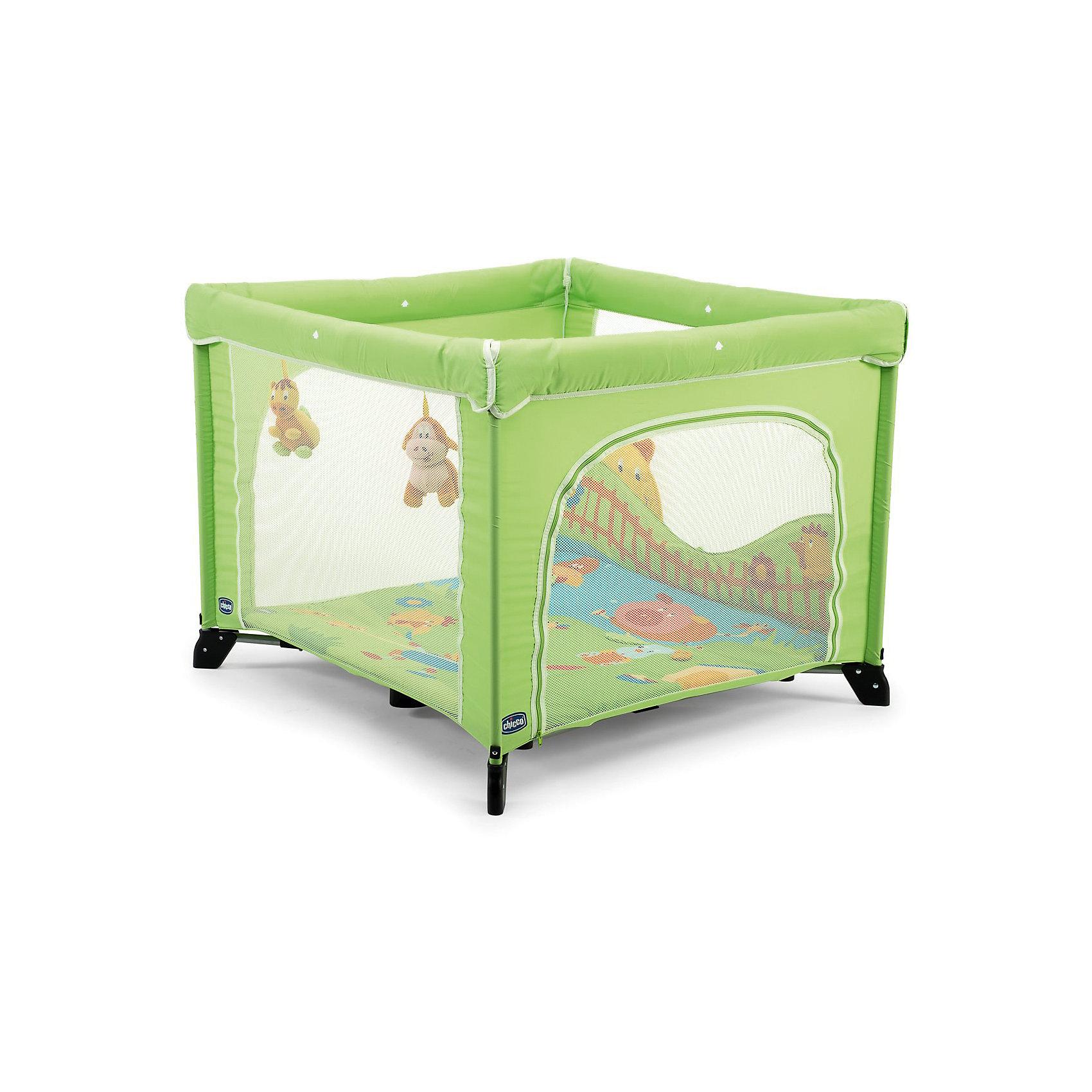 Манеж Open Country Green, CHICCOМанеж от компании CHICCO подойдет для малышей с момента рождения. Модель практична и функциональна, так как установлены кольца для перемещения крохи, а боковая часть открывается. Манеж складывается и превращается в удобный предмет, который занимает минимум места. Для переноса манежа в комплекте идет сумка. Стены выполнены из сетки с функцией вентиляции. Днище жесткое. Обивка матраса – натуральный хлопок. Материалы, использованные при изготовлении модели, отвечают всем современным требованиям к качеству и безопасности детских товаров. Ручки у манежа отсутствуют. <br><br>Дополнительная информация:<br><br>размеры: 94?94?76 см;<br>комплектация: манеж, набивной матрас, сумка для переноса;<br>цвет: салатовый.<br><br>Манеж фирмы CHICCO можно купить в нашем магазине.<br><br>Ширина мм: 255<br>Глубина мм: 255<br>Высота мм: 890<br>Вес г: 13280<br>Возраст от месяцев: 0<br>Возраст до месяцев: 36<br>Пол: Унисекс<br>Возраст: Детский<br>SKU: 4964758