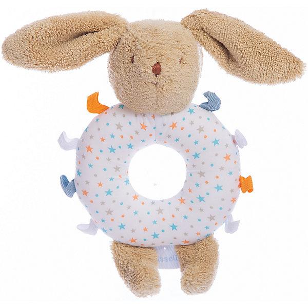 Погремушка-кольцо Заяц, 12смИгрушки для новорожденных<br>Погремушка-кольцо Заяц, 12см, Trousselier<br><br>Характеристика:<br><br>-Материалы: текстиль,полиэстер,хлопок<br>-Возраст: от 3 месяцев<br>-Размер: 12 см<br>-Цвет: белый<br>-Марка: Trousselier<br><br>Погремушка-кольцо очень удобна для малыша. Благодаря кольцу, ребёнку будет легко держать погремушку. Ребёнок не сможет пораниться, ведь вся погремушка мягкая, словно плюшевая игрушка. Выполнена она в виде зайчика, а кольцо посередине имеет веселую полосатую окраску . Погремушка будет развивать слух, внимание и цветовое восприятие.<br><br>Погремушка-кольцо Заяц, 12см, Trousselier можно приобрести в нашем интернет-магазине.<br><br>Ширина мм: 120<br>Глубина мм: 40<br>Высота мм: 40<br>Вес г: 180<br>Возраст от месяцев: -2147483648<br>Возраст до месяцев: 2147483647<br>Пол: Унисекс<br>Возраст: Детский<br>SKU: 4964794