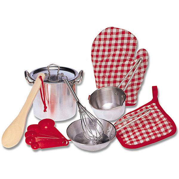 Набор кухонной посуды, ALEXДетские кухни<br>Набор кухонной посуды, ALEX (Алекс).<br>Маленький шеф-повар закатит игрушечный пир на весь мир! В этом ему поможет Набор кухонной посуды, ALEX .  Итальянская паста, украинский борщ- все удастся на славу! Бульонница с крышкой, сковорода помогут сделать и подать замечательный обед. В его приготовлении помогут такие кухонные принадлежности:<br>- дуршлаг,<br>- венчик,<br>- лопаточка,<br>- ложка для пасты,<br>- половник,<br>- шумовка, деревянная ложка и прихватка.<br>В процессе развлечения можно использовать воду, так как посуда выполнена из нержавеющей стали. <br><br>Дополнительная информация:<br><br>- Размеры упаковки: 10,6 ? 26 ? 42,55 см.<br>- Вес – 0,73кг.<br>- Материал - нержавеющая сталь.<br><br>Набор кухонной посуды, ALEX (Алекс) можно купить в нашем интернет - магазине.<br>Ширина мм: 152; Глубина мм: 190; Высота мм: 152; Вес г: 272; Возраст от месяцев: 36; Возраст до месяцев: 120; Пол: Женский; Возраст: Детский; SKU: 4965749;
