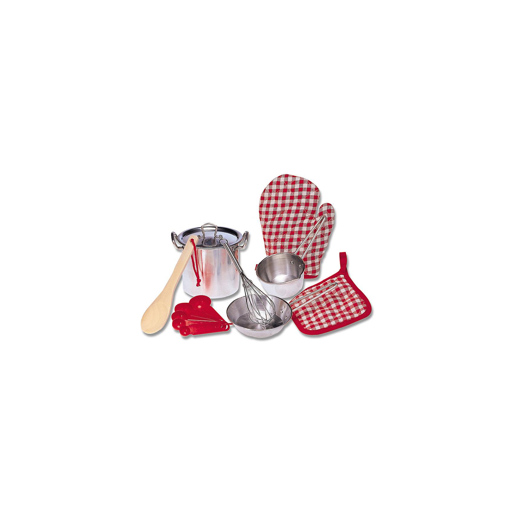 Набор кухонной посуды, ALEXПосуда и аксессуары для детской кухни<br>Набор кухонной посуды, ALEX (Алекс).<br>Маленький шеф-повар закатит игрушечный пир на весь мир! В этом ему поможет Набор кухонной посуды, ALEX .  Итальянская паста, украинский борщ- все удастся на славу! Бульонница с крышкой, сковорода помогут сделать и подать замечательный обед. В его приготовлении помогут такие кухонные принадлежности:<br>- дуршлаг,<br>- венчик,<br>- лопаточка,<br>- ложка для пасты,<br>- половник,<br>- шумовка, деревянная ложка и прихватка.<br>В процессе развлечения можно использовать воду, так как посуда выполнена из нержавеющей стали. <br><br>Дополнительная информация:<br><br>- Размеры упаковки: 10,6 ? 26 ? 42,55 см.<br>- Вес – 0,73кг.<br>- Материал - нержавеющая сталь.<br><br>Набор кухонной посуды, ALEX (Алекс) можно купить в нашем интернет - магазине.<br><br>Ширина мм: 152<br>Глубина мм: 190<br>Высота мм: 152<br>Вес г: 272<br>Возраст от месяцев: 36<br>Возраст до месяцев: 120<br>Пол: Женский<br>Возраст: Детский<br>SKU: 4965749
