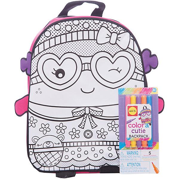 Набор Раскрась рюкзачок для принцессы, ALEXНаборы для раскрашивания<br>Набор Раскрась рюкзачок для принцессы, ALEX (Алекс).<br>Набор для детского творчества Раскрась рюкзак от американского  бренда Alex (Алекс) подарит девочке массу удовольствия от самостоятельного оформления рюкзачка. Рюкзак сделан из специального плотного качественного материала. На лицевой стороне нанесен эскиз рисунка для раскрашивания, который иллюстрирует милую девочку в очках-сердечках и платьице в цветочек. В набор входят пять разноцветных водостойких фломастеров, которые позволят раскрасить рюкзак в соответствии со вкусом его обладательницы. Рюкзачок имеет один карман и застегивается на молнию. Лямки регулируются бегунками под любой размер.<br>Дополнительная информация:<br><br>- Размеры(ДхШхВ): 279х229х95мм<br>- Материал - ткань.<br><br>Набор Раскрась рюкзачок для принцессы, ALEX (Алекс) можно купить в нашем интернет - магазине.<br><br>Ширина мм: 229<br>Глубина мм: 279<br>Высота мм: 95<br>Вес г: 413<br>Возраст от месяцев: 60<br>Возраст до месяцев: 120<br>Пол: Женский<br>Возраст: Детский<br>SKU: 4965750