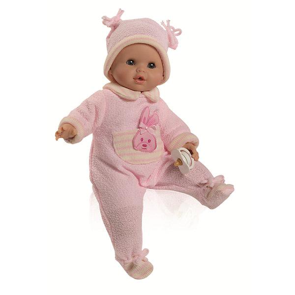 Кукла Соня в теплой одежде, 36 см, Paola ReinaБренды кукол<br>Характеристики товара:<br><br>• кукла изготовлена из винила; <br>• глаза выполнены в виде кристалла из прозрачного твердого пластика; <br>• волосы сделаны из высококачественного нейлона<br>• руки, ноги и голова подвижны.<br>• кукла приятно пахнет ванилью.<br>• кукла мягконабивная, ее нельзя купать<br>• волос на голове нет.<br>• глаза серые, с ресницами, закрываются<br><br>Кукла Соня - симпатичная малышка, похож на настоящего ребенка. Соня одета в теплый розовый костюмчик и шапочку. Соня умеет плакать. Чтобы ее успокоить, достаточно вставить ей соску в рот.<br><br>Куклу Соню в теплой одежде, 36 см, Paola Reina можно купить в нашем интернет-магазине.<br><br>Ширина мм: 250<br>Глубина мм: 250<br>Высота мм: 420<br>Вес г: 1000<br>Возраст от месяцев: 36<br>Возраст до месяцев: 144<br>Пол: Женский<br>Возраст: Детский<br>SKU: 4966368