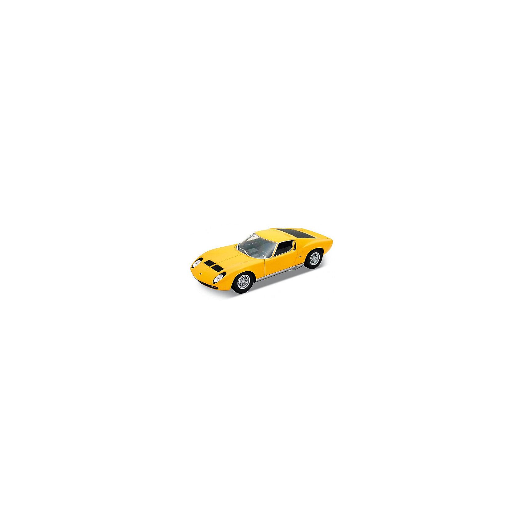 Модель машины 1:18 Lamborghini Miura, WellyКоллекционные модели<br>Коллекционная модель машины Welly масштаба 1:18. Функции: открываются передние двери, капот, багажник, поворотом руля поварачиваются передние колеса.  Обратите внимание, машина представлена в цветовом ассортименте, выбранный вариант в поставке не гарантирован.<br><br>Ширина мм: 160<br>Глубина мм: 140<br>Высота мм: 330<br>Вес г: 1042<br>Возраст от месяцев: 36<br>Возраст до месяцев: 192<br>Пол: Мужской<br>Возраст: Детский<br>SKU: 4966475