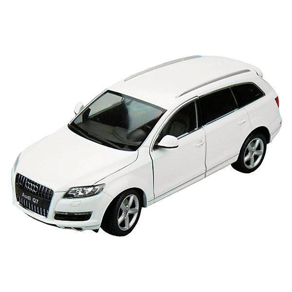 Модель машины 1:18 Audi Q7, WellyМашинки<br>Коллекционная модель машины Welly Audi Q7 масштаба 1:18. Это полноразмерный кроссовер, премьера которого состоялась в сенябре 2015 года, довольно мощный и вместительный автомобиль. Игрушка функциональна: открываются двери и капот, передние колеса вращаются от вращений руля. Тщательно детализирована: проработан интерьер салона, а также содержимое капота.  Обратите внимание, машина представлена в цветовом ассортименте, выбранный вариант в поставке не гарантирован.<br><br>Ширина мм: 160<br>Глубина мм: 135<br>Высота мм: 330<br>Вес г: 1463<br>Возраст от месяцев: 36<br>Возраст до месяцев: 192<br>Пол: Мужской<br>Возраст: Детский<br>SKU: 4966477
