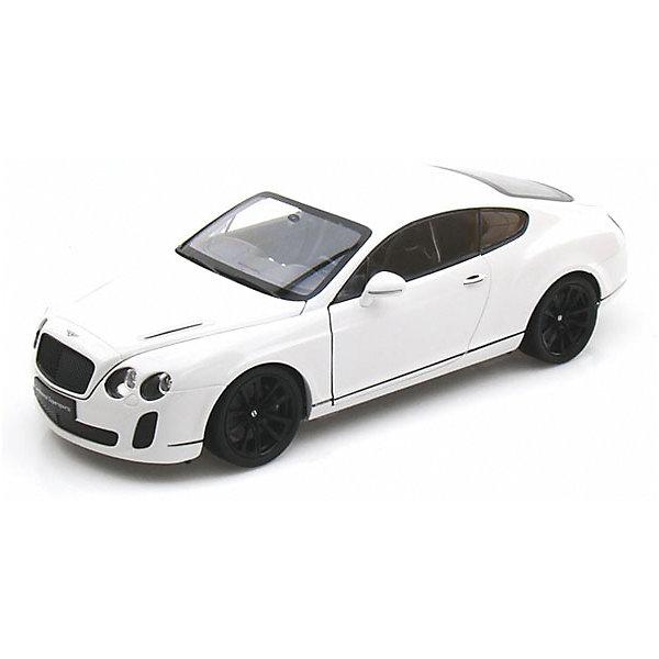 Модель машины 1:18 Bentley Continental Supersports, WellyМашинки<br>Коллекционная модель машины Welly  Bentley Continental Supersports, выполненная в масштабе 1:18. Эта респектабельная машина-купе выглядит очень современно и солидно, и по праву считается люксовой маркой.<br>Игрушка функциональна: вращаются колеса, открываются двери и капот. Тщательно детализирована: проработан интерьер салона и содержимое капота.  Обратите внимание, машина представлена в цветовом ассортименте, выбранный вариант в поставке не гарантирован.<br><br>Ширина мм: 160<br>Глубина мм: 130<br>Высота мм: 330<br>Вес г: 1233<br>Возраст от месяцев: 36<br>Возраст до месяцев: 192<br>Пол: Мужской<br>Возраст: Детский<br>SKU: 4966478