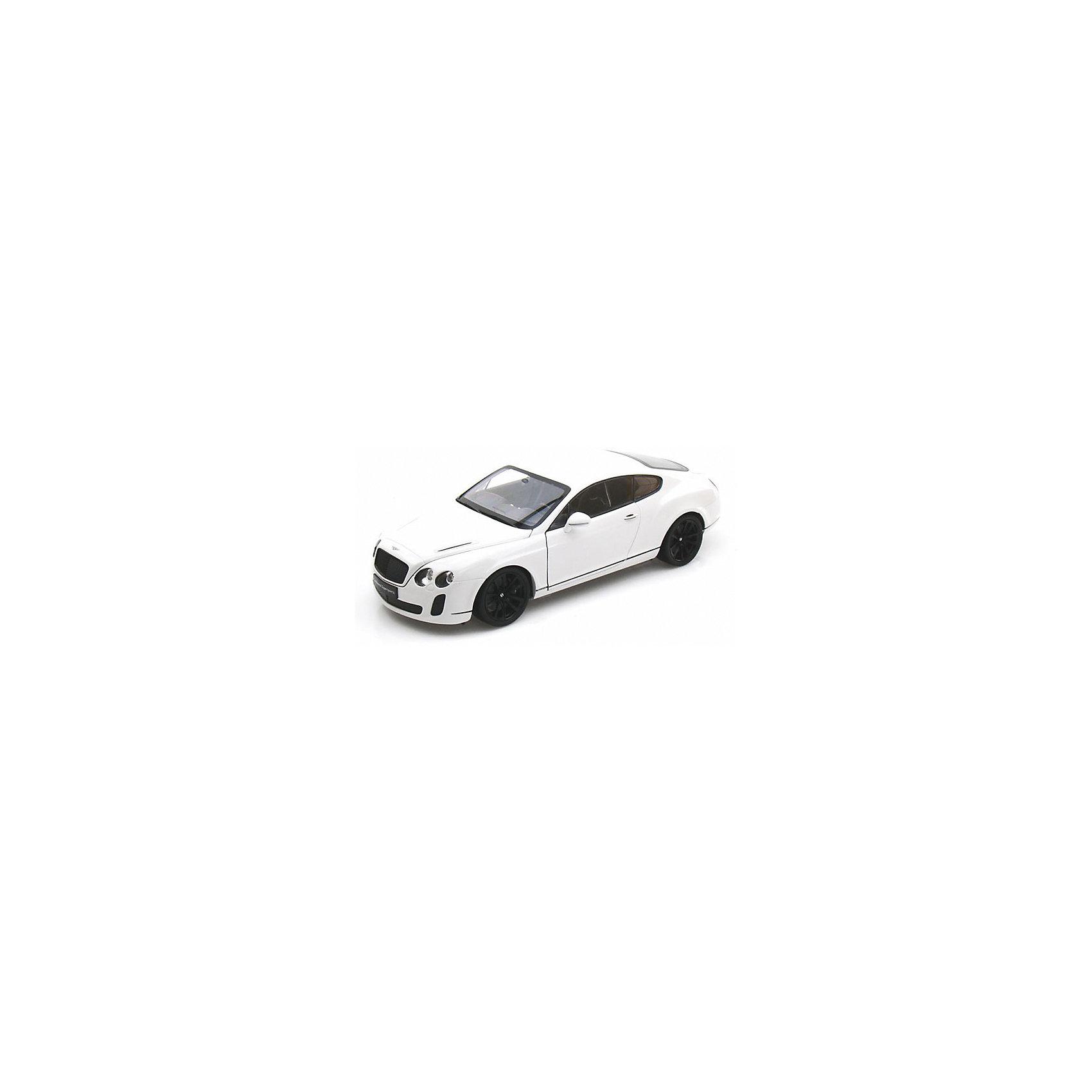 Модель машины 1:18 Bentley Continental Supersports, WellyКоллекционные модели<br>Коллекционная модель машины Welly  Bentley Continental Supersports, выполненная в масштабе 1:18. Эта респектабельная машина-купе выглядит очень современно и солидно, и по праву считается люксовой маркой.<br>Игрушка функциональна: вращаются колеса, открываются двери и капот. Тщательно детализирована: проработан интерьер салона и содержимое капота.  Обратите внимание, машина представлена в цветовом ассортименте, выбранный вариант в поставке не гарантирован.<br><br>Ширина мм: 160<br>Глубина мм: 130<br>Высота мм: 330<br>Вес г: 1233<br>Возраст от месяцев: 36<br>Возраст до месяцев: 192<br>Пол: Мужской<br>Возраст: Детский<br>SKU: 4966478