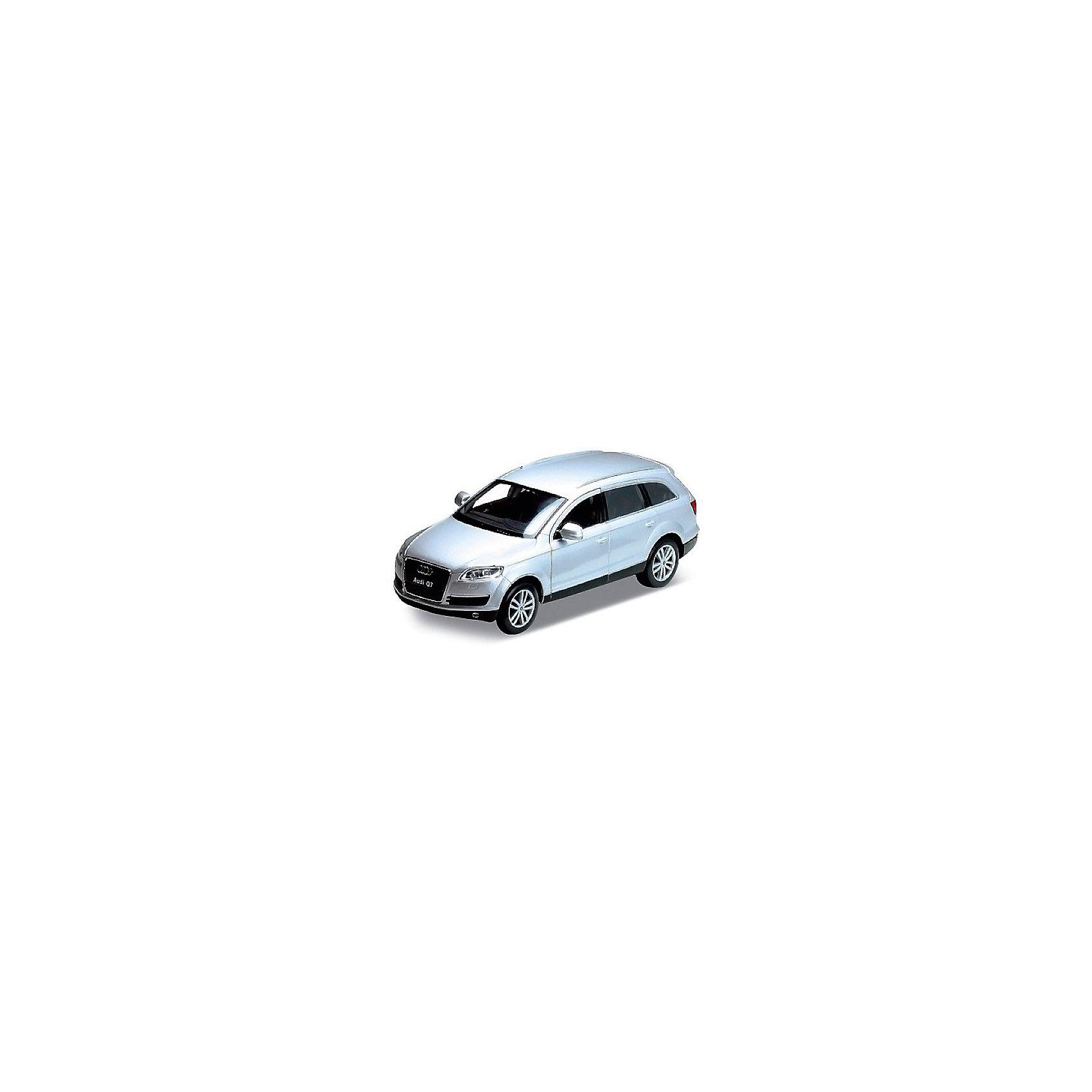 Модель машины 1:32 Audi Q7, WellyКоллекционные модели<br>Коллекционная модель машины Welly масштаба 1:32 Audi Q7, является точной копией настоящего автомобиля. У машины открываются двери. Цвет кузова автомобиля представлен в ассортименте. Выбрать определенный цвет заранее не представляется возможным.<br><br>Ширина мм: 80<br>Глубина мм: 80<br>Высота мм: 180<br>Вес г: 288<br>Возраст от месяцев: 36<br>Возраст до месяцев: 192<br>Пол: Мужской<br>Возраст: Детский<br>SKU: 4966500