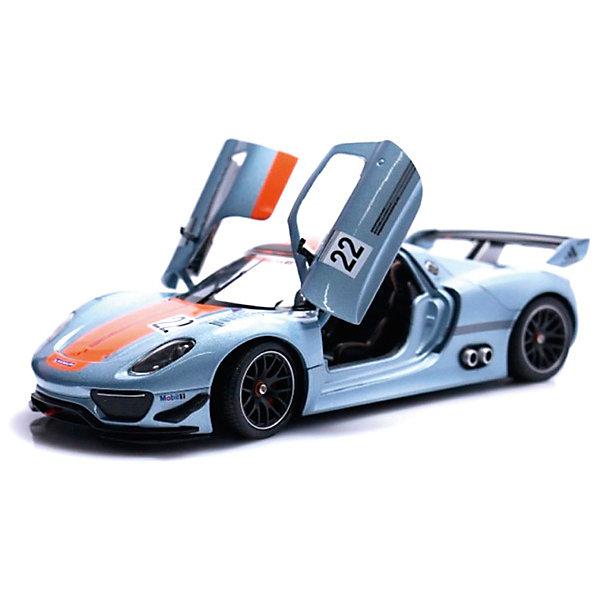 Модель машины 1:34-39 Porsche 918 RSR, WellyМашинки<br>Коллекционная модель машины является точной уменьшенной копией автомобиля марки Porsche 918 RSR, выполненной в масштабе 1:34-39. Этот роскошный гибридный суперкар почитаемой во всем мире марки Porsche с внушительными характеристиками представляет собой гоночный автомобиль премиум-класса с эксклюзивным дизайном. Машинка сделана очень качественно и тщательно детализирована, вращаются колеса, у игрушки инерционный механизм. Она выполнена в серебристом цвете и декорирована оранжевой полосой, а также наклейками с надписями Porsche, Michelin и цифрами 22.<br><br>Ширина мм: 145<br>Глубина мм: 115<br>Высота мм: 60<br>Вес г: 147<br>Возраст от месяцев: 36<br>Возраст до месяцев: 192<br>Пол: Мужской<br>Возраст: Детский<br>SKU: 4966537