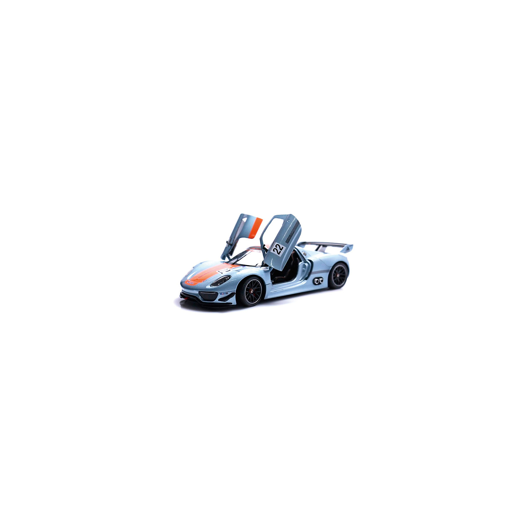 Модель машины 1:34-39 Porsche 918 RSR, WellyКоллекционные модели<br>Коллекционная модель машины является точной уменьшенной копией автомобиля марки Porsche 918 RSR, выполненной в масштабе 1:34-39. Этот роскошный гибридный суперкар почитаемой во всем мире марки Porsche с внушительными характеристиками представляет собой гоночный автомобиль премиум-класса с эксклюзивным дизайном. Машинка сделана очень качественно и тщательно детализирована, вращаются колеса, у игрушки инерционный механизм. Она выполнена в серебристом цвете и декорирована оранжевой полосой, а также наклейками с надписями Porsche, Michelin и цифрами 22.<br><br>Ширина мм: 145<br>Глубина мм: 115<br>Высота мм: 60<br>Вес г: 147<br>Возраст от месяцев: 36<br>Возраст до месяцев: 192<br>Пол: Мужской<br>Возраст: Детский<br>SKU: 4966537
