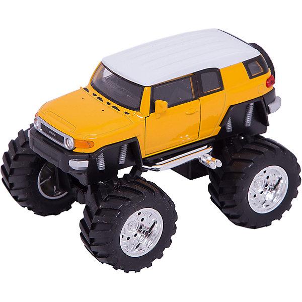 Модель машины 1:34-39 Toyota FJ Cruiser Big Wheel, WellyМашинки<br>Коллекционная модель автомобиля Toyota FJ Cruiser на больших колесах, выполненная в масштабе 1:34-39. Корпус автомобиля выполнен из пластика, колеса – из резины, авто оснащено мощными металлическими амортизаторами. Цвет кузова представлен в ассортименте, выбранный вариант в поставке не гарантирован.<br><br>Ширина мм: 155<br>Глубина мм: 95<br>Высота мм: 100<br>Вес г: 288<br>Возраст от месяцев: 36<br>Возраст до месяцев: 192<br>Пол: Мужской<br>Возраст: Детский<br>SKU: 4966552