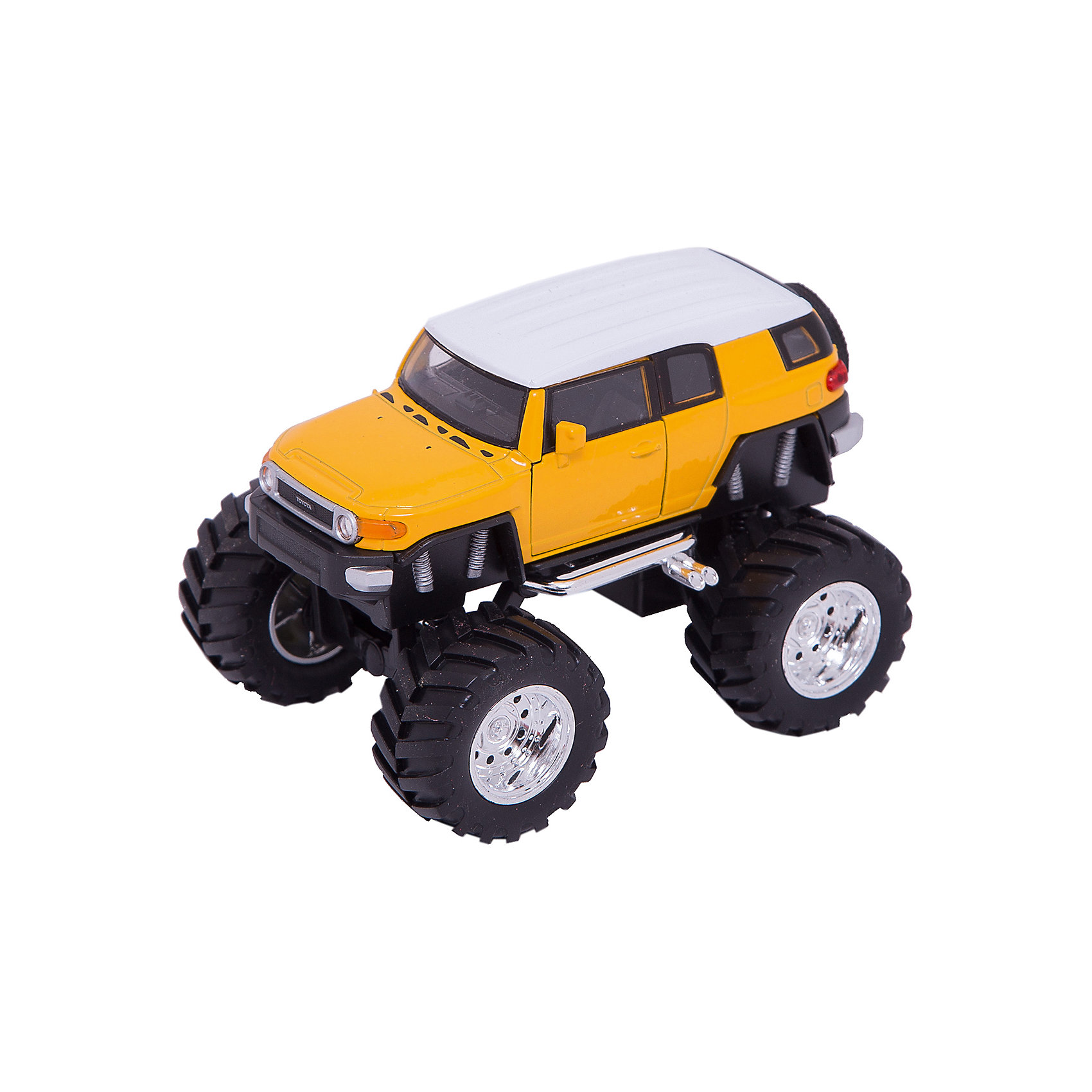 Модель машины 1:34-39 Toyota FJ Cruiser Big Wheel, WellyКоллекционные модели<br>Коллекционная модель автомобиля Toyota FJ Cruiser на больших колесах, выполненная в масштабе 1:34-39. Корпус автомобиля выполнен из пластика, колеса – из резины, авто оснащено мощными металлическими амортизаторами. Цвет кузова представлен в ассортименте, выбранный вариант в поставке не гарантирован.<br><br>Ширина мм: 155<br>Глубина мм: 95<br>Высота мм: 100<br>Вес г: 288<br>Возраст от месяцев: 36<br>Возраст до месяцев: 192<br>Пол: Мужской<br>Возраст: Детский<br>SKU: 4966552