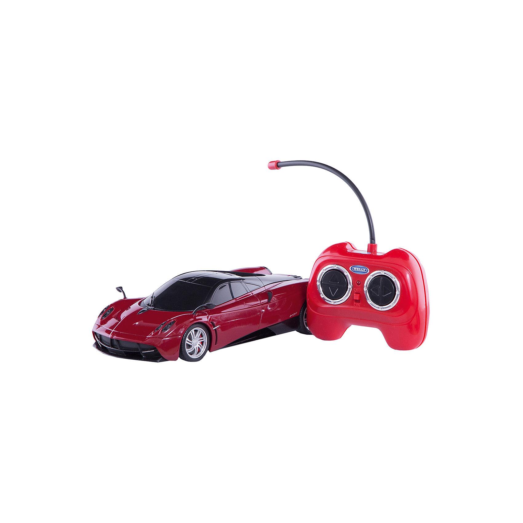 Модель машины 1:24 Pagani Huayra, р/у, WellyМодель машины 1:24 Pagani Huayra, р/у, Welly<br><br>Характеристики:<br><br>• Цвет: красный<br>• Модель: Pagani Huayra<br>• Материал: пластик, металл<br>• Размер упаковки: 7х13х18 см<br>• Размер машинки: 13х4 см<br><br>Машинка полностью повторяет внешний вид настоящей машины Pagani Huayra. Она сможет дополнить коллекцию автомобилей или просто разнообразит игру ребенка. Игрушка сделана из качественного материала, который не только не вреден ребенку, но и очень крепок. В машинке открываются дверки и инерционный механизм. Кроме этого она оснащена звуковым и световым сопровождением.<br><br>Модель машины 1:24 Pagani Huayra, р/у, Welly можно купить в нашем интернет-магазине.<br><br>Ширина мм: 110<br>Глубина мм: 130<br>Высота мм: 260<br>Вес г: 497<br>Возраст от месяцев: 36<br>Возраст до месяцев: 192<br>Пол: Мужской<br>Возраст: Детский<br>SKU: 4966560