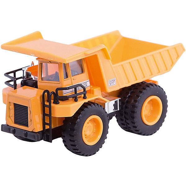 Модель машины Карьерный самосвал, WellyМашинки<br>Игрушечная модель карьерного самосвала от компании Welly. Модель оснащена функциональным кузовом и подвижными колесами. Модель прекрасно детализирована и выглядит совсем как настоящий самосвал. Корпус автомобиля выполнен из пластика, колеса – резиновые. Кузов и кабина окрашены в ярко-желтый цвет.<br>Ширина мм: 210; Глубина мм: 110; Высота мм: 80; Вес г: 340; Возраст от месяцев: 36; Возраст до месяцев: 192; Пол: Мужской; Возраст: Детский; SKU: 4966561;
