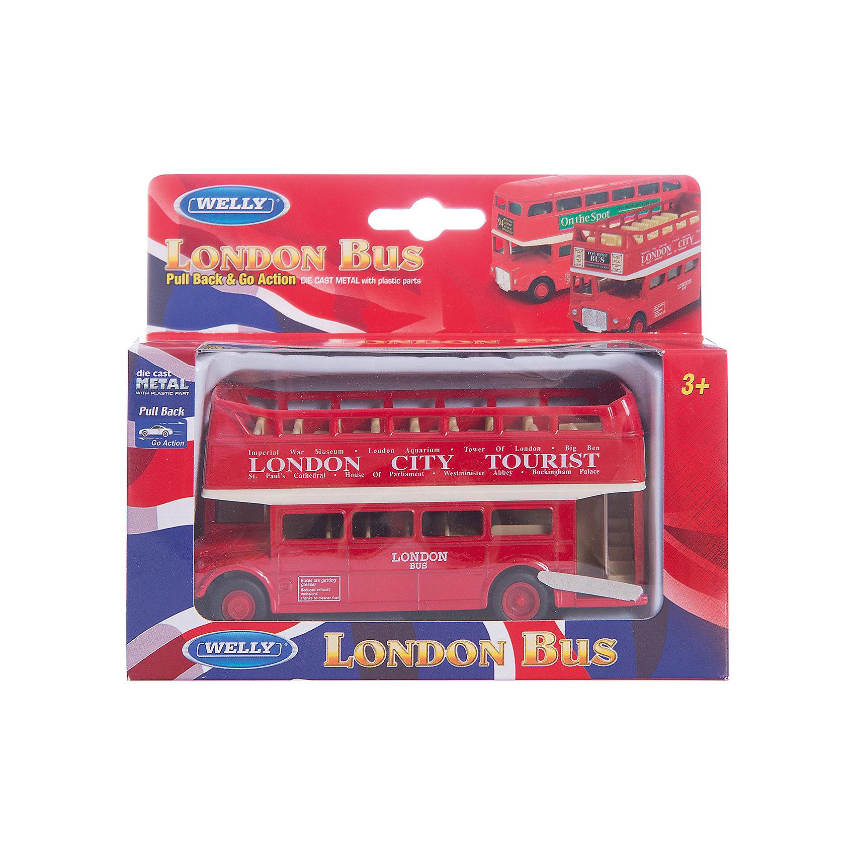 Модель автобуса  London Bus открытый, WellyКоллекционные модели<br>Модель автобуса от производителя Welly 1:60-64 London Bus открытый<br>Функции: инерционный механизм.<br>Цвет кузова автомобиля представлен в ассортименте. Выбрать определенный цвет заранее не представляется возможным.<br><br>Ширина мм: 50<br>Глубина мм: 130<br>Высота мм: 150<br>Вес г: 239<br>Возраст от месяцев: 36<br>Возраст до месяцев: 192<br>Пол: Мужской<br>Возраст: Детский<br>SKU: 4966568