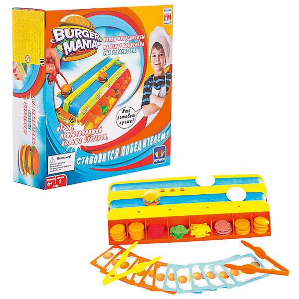 Интерактивная игра Burger Mania, FotoramaНастольные игры для всей семьи<br>Burger Mania – кто быстрее приготовит бургер?<br>Цель игры – приготовить наибольшее количество бургеров в соответствии с рецептами быстрее, чем соперник. В комплекте карточки с рецептами для каждого  игрока (указана последовательность составляющих в бургере), несколько разновидностей ингредиентов, необходимых для приготовления бургеров, а также тарелочки и специальные щипцы для «работы с продуктами».<br>Конвейер движется с одной из 3х скоростей. Чтобы собрать бургер по рецепту, необходимо класть на ленту конвейера ингредиенты от нижнего с верхнему. Готовый бургер «приедет» прямо в тарелочку. Для работы требуются батарейки – 4 шт. типа АА<br>(в комплект не входят). Состав набора: 1 конвейер для бургеров, 96 ингредиентов, 16 тарелочек, 16 карточек с рецептами, 2 пластиковых пинцета.<br>Ширина мм: 280; Глубина мм: 280; Высота мм: 80; Вес г: 912; Возраст от месяцев: 72; Возраст до месяцев: 168; Пол: Унисекс; Возраст: Детский; SKU: 4967256;