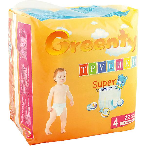 Подгузники-трусики Greenty 4, 9-14 кг, 22 шт.Трусики-подгузники<br>Трусики-подгузники ГРИНТИ – уникальная разработка специалистов для малышей, ведущих подвижный образ жизни. Продукт имеет премиум качество, но его цена приятно удивит родителей. <br>Трусики легко одеть даже на самого активного малыша. Модель не сковывает движения, позволяет ребенку перемещаться во всех направлениях, не испытывая дискомфорт. Трусики – подгузники отлично впитывают и оснащены специальными манжетами, предотвращающими протекание. Примечательно, что у модели есть индикатор наполнения, который уже успел полюбиться всем родителям.<br><br>Дополнительная информация:<br><br>модель: Гринти 4;<br>возраст: 9-14кг;<br>количество: 22 шт.<br><br>Подгузники-трусики Greenty 4, 9-14 кг, 22 шт. можно приобрести в нашем магазине.<br>Ширина мм: 220; Глубина мм: 150; Высота мм: 230; Вес г: 840; Возраст от месяцев: 10; Возраст до месяцев: 24; Пол: Унисекс; Возраст: Детский; SKU: 4968080;