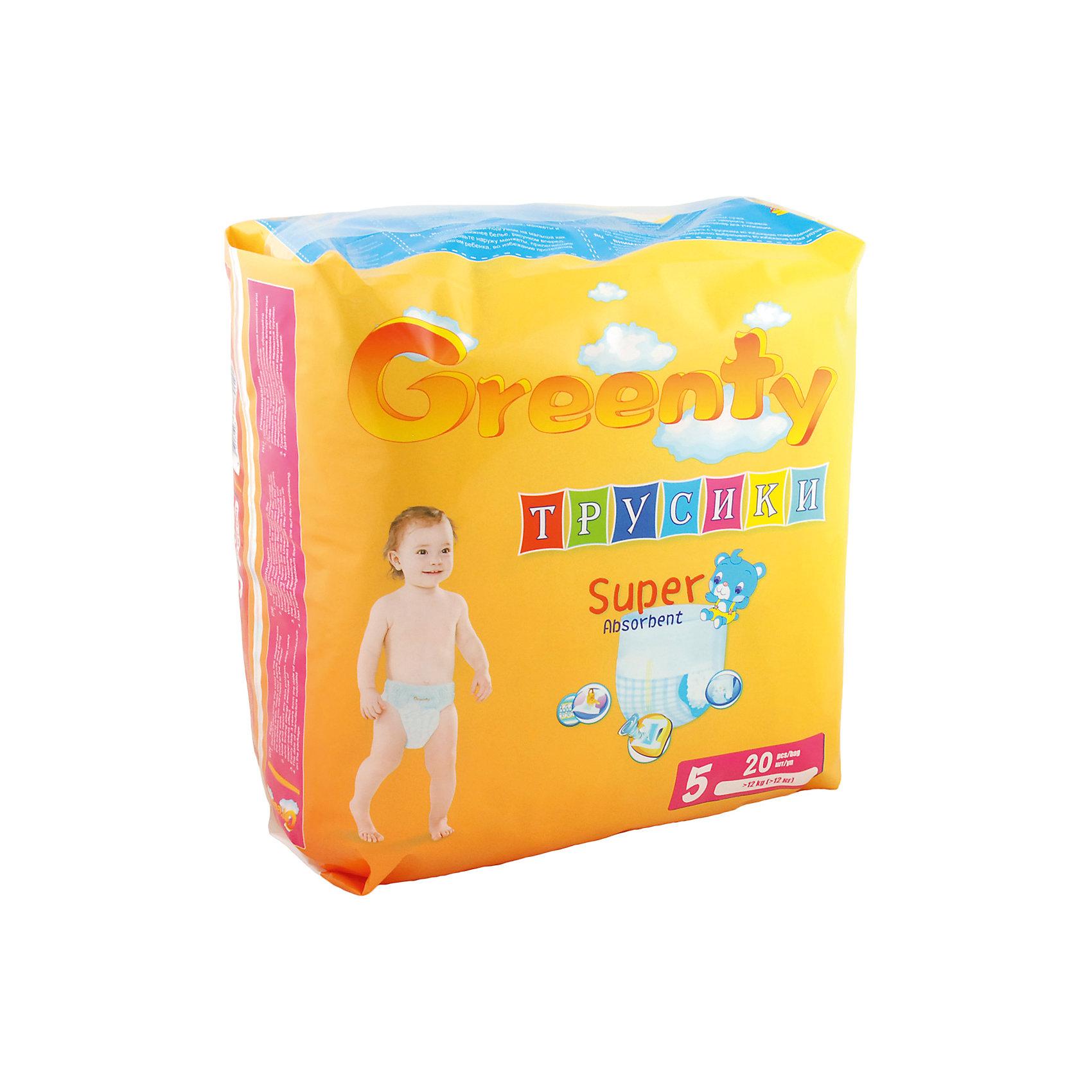 Подгузники-трусики Greenty 5, + 12 кг, 20 шт.Трусики-подгузники<br>Трусики-подгузники ГРИНТИ – уникальная разработка специалистов для малышей, ведущих подвижный образ жизни. Продукт имеет премиум качество, но его цена приятно удивит родителей. <br>Трусики легко одеть даже на самого активного малыша. Модель не сковывает движения, позволяет ребенку перемещаться во всех направлениях, не испытывая дискомфорт. Трусики – подгузники отлично впитывают и оснащены специальными манжетами, предотвращающими протекание. Примечательно, что у модели есть индикатор наполнения, который уже успел полюбиться всем родителям.<br><br>Дополнительная информация:<br><br>модель: Гринти 5;<br>возраст: +12 кг;<br>количество: 20 шт.<br><br>Подгузники-трусики Greenty 5, + 12 кг, 20 шт. можно приобрести в нашем магазине.<br><br>Ширина мм: 220<br>Глубина мм: 150<br>Высота мм: 230<br>Вес г: 750<br>Возраст от месяцев: 24<br>Возраст до месяцев: 60<br>Пол: Унисекс<br>Возраст: Детский<br>SKU: 4968081