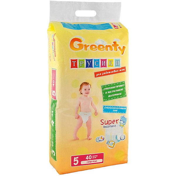 Подгузники-трусики Greenty 5, + 12 кг, 40 шт.Трусики-подгузники<br>Трусики-подгузники ГРИНТИ – уникальная разработка специалистов для малышей, ведущих подвижный образ жизни. Продукт имеет премиум качество, но его цена приятно удивит родителей. <br>Трусики легко одеть даже на самого активного малыша. Модель не сковывает движения, позволяет ребенку перемещаться во всех направлениях, не испытывая дискомфорт. Трусики – подгузники отлично впитывают и оснащены специальными манжетами, предотвращающими протекание. Примечательно, что у модели есть индикатор наполнения, который уже успел полюбиться всем родителям.<br><br>Дополнительная информация:<br><br>модель: Гринти 5;<br>возраст: +12 кг;<br>количество: 40 шт.<br><br>Подгузники-трусики Greenty 5, + 12 кг, 40 шт. можно приобрести в нашем магазине.<br><br>Ширина мм: 220<br>Глубина мм: 160<br>Высота мм: 400<br>Вес г: 1560<br>Возраст от месяцев: 24<br>Возраст до месяцев: 60<br>Пол: Унисекс<br>Возраст: Детский<br>SKU: 4968083