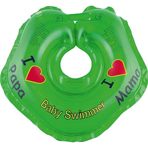 Круг для купания BabySwimmer, зеленыйТовары для купания<br>Купание младенца - ответственное и важное занятие. Круг для купания Baby Swimmer  обеспечит безопасность процесса, избавит малыша от страха воды и сделает водные процедуры веселой игрой. У круга есть устройство, поддерживающее подбородок, что позволит избежать проглатывание воды малышом. У круга яркие цвета, необычный дизайн и веселые картинки по бокам, которые понравится всем детям. Все материалы, использованные при разработке и изготовлении круга для купания безопасны для использования, отвечают всем требованиям экологичности и качества детских товаров, а так же гипоаллергенны.<br><br>Дополнительная информация:<br><br>модель: Baby Swimmer;<br>цвет: зеленый.<br><br>Круг для купания Baby Swimmer можно приобрести в нашем магазине.<br>Ширина мм: 150; Глубина мм: 40; Высота мм: 150; Вес г: 140; Возраст от месяцев: 0; Возраст до месяцев: 24; Пол: Унисекс; Возраст: Детский; SKU: 4968092;