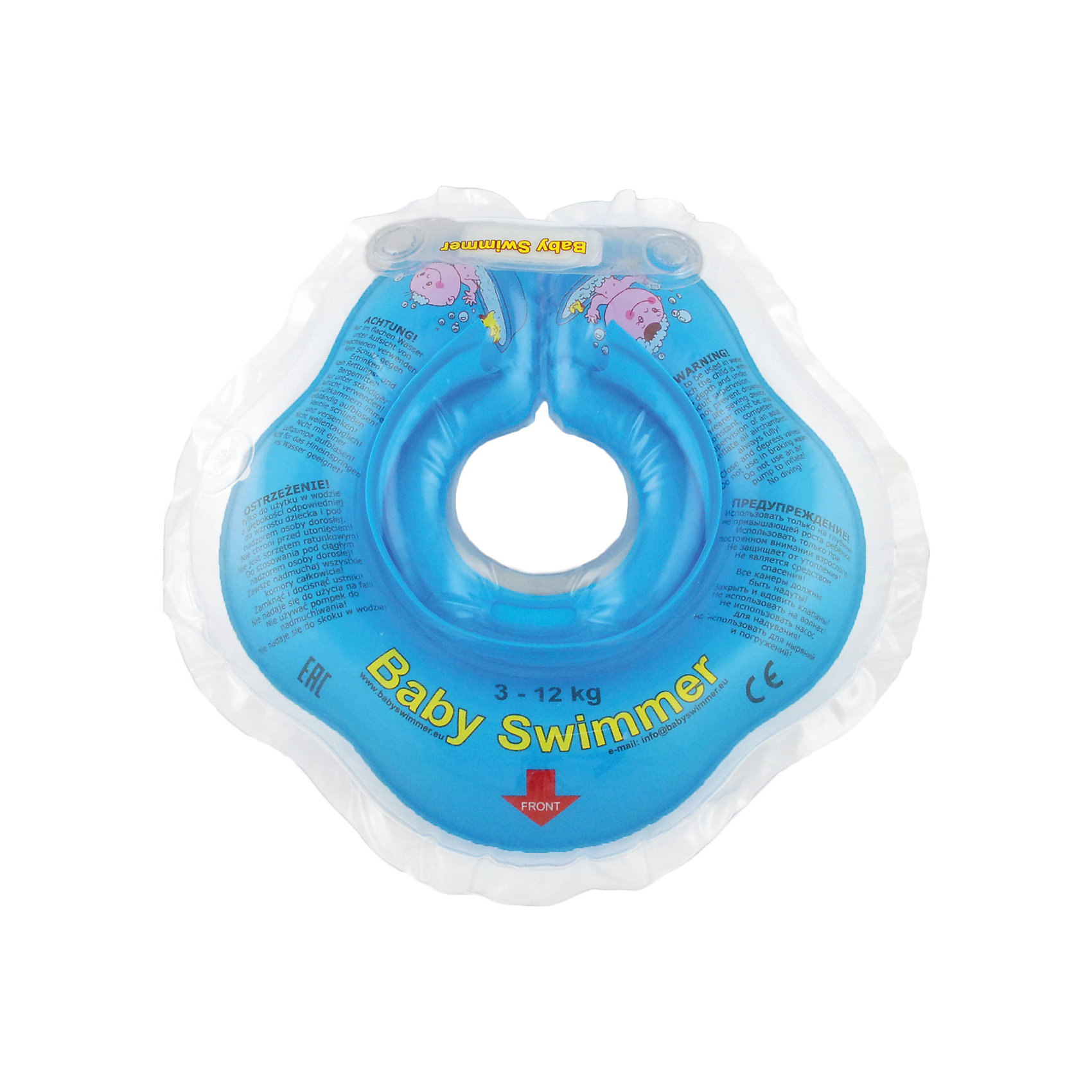 Круг для купания BabySwimmer, голубойКруги для купания малыша<br>Купание младенца - ответственное и важное занятие. Круг для купания Baby Swimmer  обеспечит безопасность процесса, избавит малыша от страха воды и сделает водные процедуры веселой игрой. У круга есть устройство, поддерживающее подбородок, что позволит избежать проглатывание воды малышом. У круга яркие цвета, необычный дизайн и веселые картинки по бокам, которые понравится всем детям. Все материалы, использованные при разработке и изготовлении круга для купания безопасны для использования, отвечают всем требованиям экологичности и качества детских товаров, а так же гипоаллергенны.<br><br>Дополнительная информация:<br><br>модель: Baby Swimmer;<br>цвет: голубой.<br><br>Круг для купания Baby Swimmer можно приобрести в нашем магазине.<br><br>Ширина мм: 150<br>Глубина мм: 40<br>Высота мм: 150<br>Вес г: 140<br>Возраст от месяцев: 0<br>Возраст до месяцев: 24<br>Пол: Унисекс<br>Возраст: Детский<br>SKU: 4968094