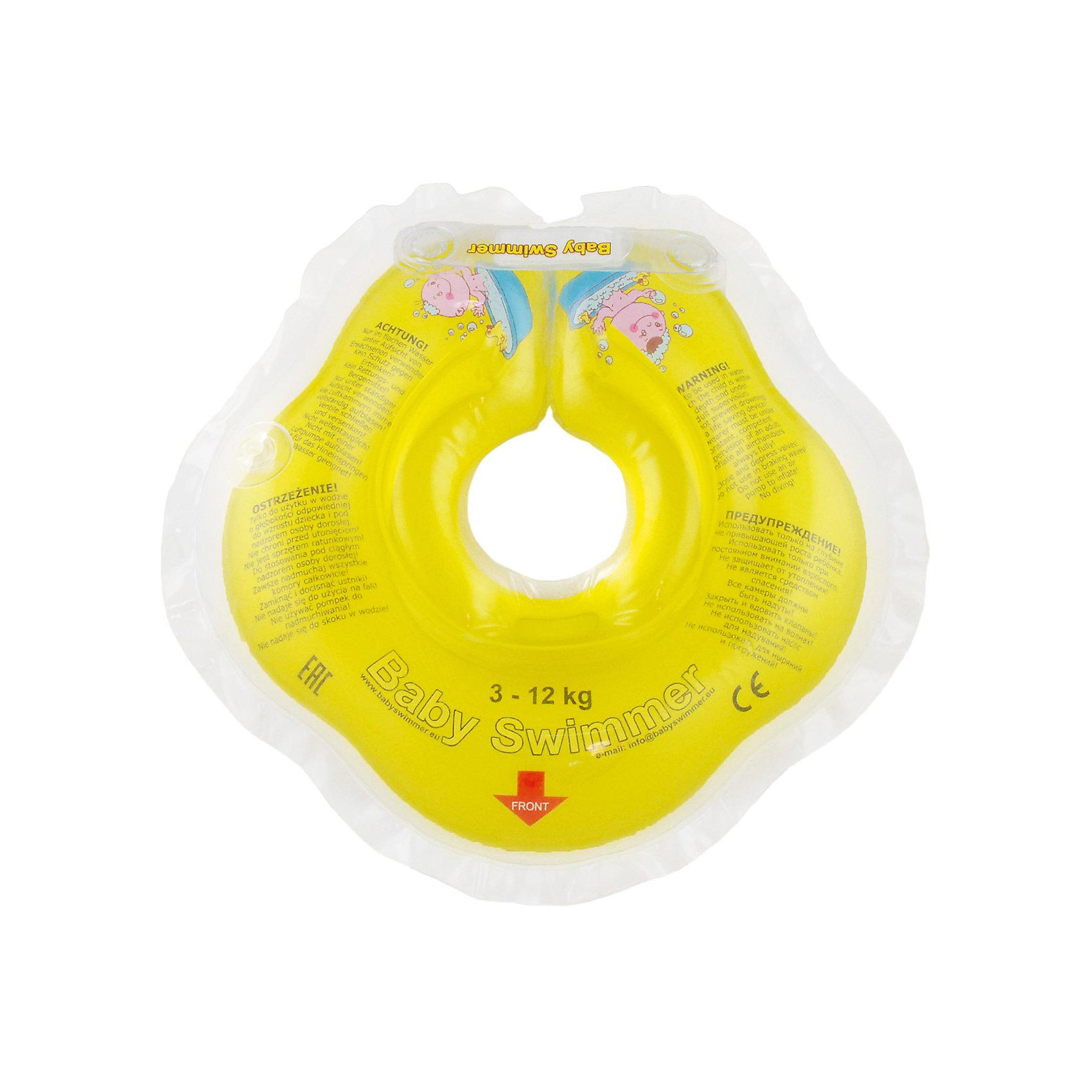Круг для купания BabySwimmer, жёлтыйКруги для купания малыша<br>Купание младенца - ответственное и важное занятие. Круг для купания Baby Swimmer  обеспечит безопасность процесса, избавит малыша от страха воды и сделает водные процедуры веселой игрой. У круга есть устройство, поддерживающее подбородок, что позволит избежать проглатывание воды малышом. У круга яркие цвета, необычный дизайн и веселые картинки по бокам, которые понравится всем детям. Все материалы, использованные при разработке и изготовлении круга для купания безопасны для использования, отвечают всем требованиям экологичности и качества детских товаров, а так же гипоаллергенны.<br><br>Дополнительная информация:<br><br>модель: Baby Swimmer;<br>цвет: жёлтый.<br><br>Круг для купания Baby Swimmer можно приобрести в нашем магазине.<br><br>Ширина мм: 150<br>Глубина мм: 40<br>Высота мм: 150<br>Вес г: 140<br>Возраст от месяцев: 0<br>Возраст до месяцев: 24<br>Пол: Унисекс<br>Возраст: Детский<br>SKU: 4968096