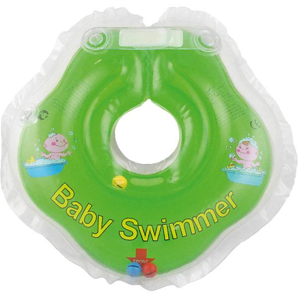 Круг для купания с погремушкой внутри BabySwimmer, салатовыйТовары для купания<br>Круг для купания Baby Swimmer с погремушкой – улучшенная вариация классической одноименной модели. Отличительная особенность – погремушка внутри круга. Устройство обеспечит безопасность купания малыша, избавит  от страха воды и сделает водные процедуры веселой игрой. У круга есть устройство, поддерживающее подбородок, что позволит избежать проглатывание воды малышом. У круга яркие цвета, необычный дизайн и веселые картинки по бокам, которые понравится всем детям. Все материалы, использованные при разработке и изготовлении круга для купания безопасны для использования, отвечают всем требованиям экологичности и качества детских товаров, а так же гипоаллергенны.<br><br>Дополнительная информация:<br><br>модель: Baby Swimmer;<br>цвет: салатовый.<br><br>Круг для купания с погремушкой внутри Baby Swimmer можно приобрести в нашем магазине.<br><br>Ширина мм: 150<br>Глубина мм: 40<br>Высота мм: 150<br>Вес г: 140<br>Возраст от месяцев: 0<br>Возраст до месяцев: 24<br>Пол: Унисекс<br>Возраст: Детский<br>SKU: 4968097