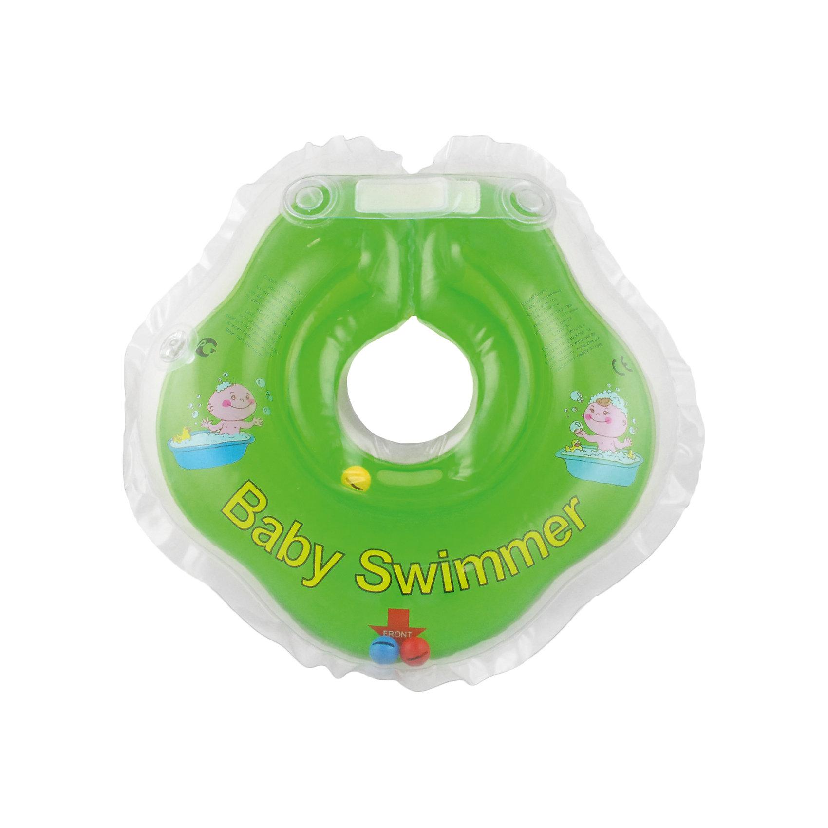 Круг для купания с погремушкой внутри BabySwimmer, салатовыйКруги для купания малыша<br>Круг для купания Baby Swimmer с погремушкой – улучшенная вариация классической одноименной модели. Отличительная особенность – погремушка внутри круга. Устройство обеспечит безопасность купания малыша, избавит  от страха воды и сделает водные процедуры веселой игрой. У круга есть устройство, поддерживающее подбородок, что позволит избежать проглатывание воды малышом. У круга яркие цвета, необычный дизайн и веселые картинки по бокам, которые понравится всем детям. Все материалы, использованные при разработке и изготовлении круга для купания безопасны для использования, отвечают всем требованиям экологичности и качества детских товаров, а так же гипоаллергенны.<br><br>Дополнительная информация:<br><br>модель: Baby Swimmer;<br>цвет: салатовый.<br><br>Круг для купания с погремушкой внутри Baby Swimmer можно приобрести в нашем магазине.<br><br>Ширина мм: 150<br>Глубина мм: 40<br>Высота мм: 150<br>Вес г: 140<br>Возраст от месяцев: 0<br>Возраст до месяцев: 24<br>Пол: Унисекс<br>Возраст: Детский<br>SKU: 4968097