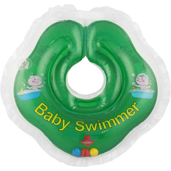 Круг для купания с погремушкой внутри BabySwimmer, зеленыйТовары для купания<br>Круг для купания Baby Swimmer с погремушкой – улучшенная вариация классической одноименной модели. Отличительная особенность – погремушка внутри круга. Устройство обеспечит безопасность купания малыша, избавит  от страха воды и сделает водные процедуры веселой игрой. У круга есть устройство, поддерживающее подбородок, что позволит избежать проглатывание воды малышом. У круга яркие цвета, необычный дизайн и веселые картинки по бокам, которые понравится всем детям. Все материалы, использованные при разработке и изготовлении круга для купания безопасны для использования, отвечают всем требованиям экологичности и качества детских товаров, а так же гипоаллергенны.<br><br>Дополнительная информация:<br><br>модель: Baby Swimmer;<br>цвет: зеленый.<br><br>Круг для купания с погремушкой внутри Baby Swimmer можно приобрести в нашем магазине.<br><br>Ширина мм: 150<br>Глубина мм: 40<br>Высота мм: 150<br>Вес г: 140<br>Возраст от месяцев: 0<br>Возраст до месяцев: 24<br>Пол: Унисекс<br>Возраст: Детский<br>SKU: 4968098
