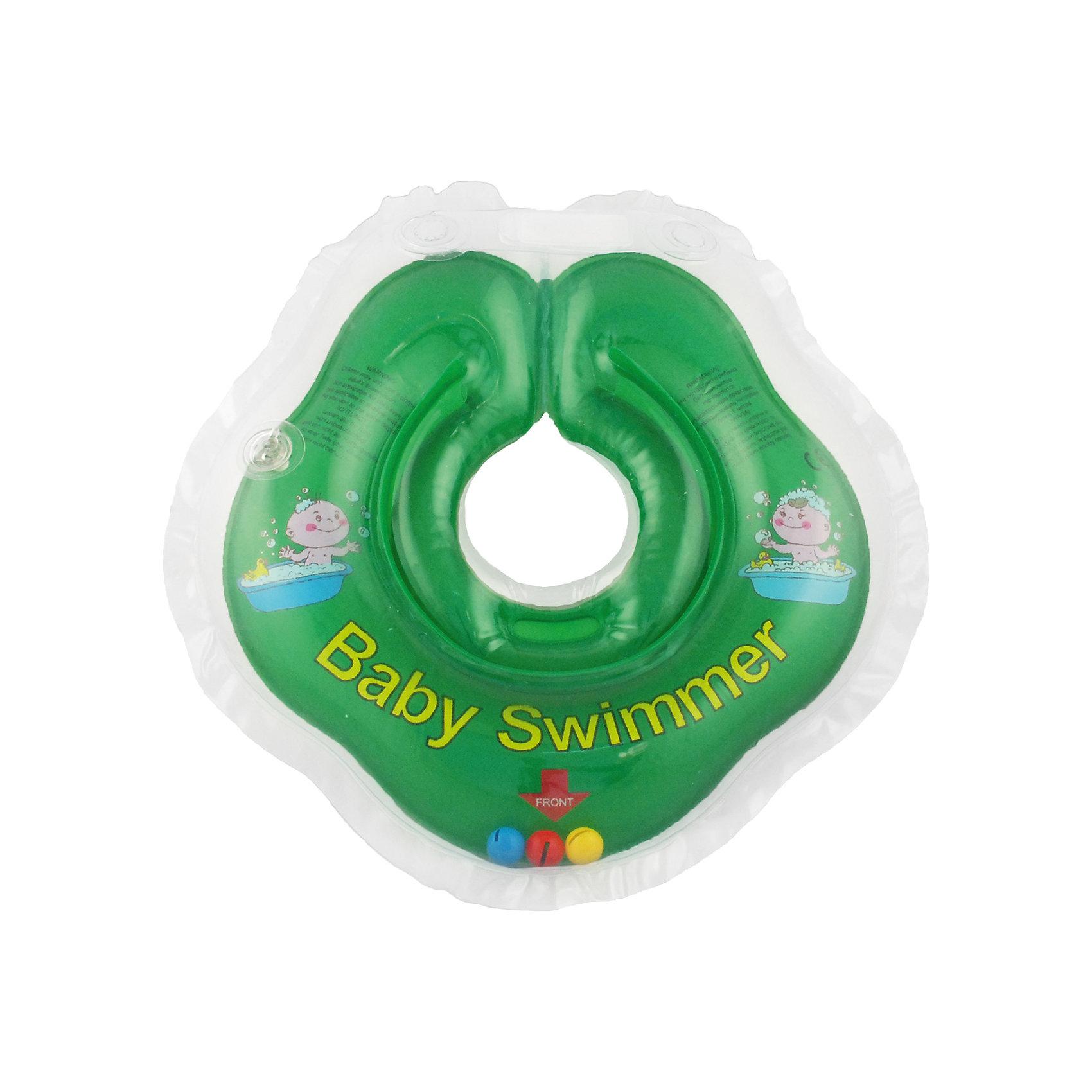 Круг для купания с погремушкой внутри BabySwimmer, зеленыйКруги для купания малыша<br>Круг для купания Baby Swimmer с погремушкой – улучшенная вариация классической одноименной модели. Отличительная особенность – погремушка внутри круга. Устройство обеспечит безопасность купания малыша, избавит  от страха воды и сделает водные процедуры веселой игрой. У круга есть устройство, поддерживающее подбородок, что позволит избежать проглатывание воды малышом. У круга яркие цвета, необычный дизайн и веселые картинки по бокам, которые понравится всем детям. Все материалы, использованные при разработке и изготовлении круга для купания безопасны для использования, отвечают всем требованиям экологичности и качества детских товаров, а так же гипоаллергенны.<br><br>Дополнительная информация:<br><br>модель: Baby Swimmer;<br>цвет: зеленый.<br><br>Круг для купания с погремушкой внутри Baby Swimmer можно приобрести в нашем магазине.<br><br>Ширина мм: 150<br>Глубина мм: 40<br>Высота мм: 150<br>Вес г: 140<br>Возраст от месяцев: 0<br>Возраст до месяцев: 24<br>Пол: Унисекс<br>Возраст: Детский<br>SKU: 4968098