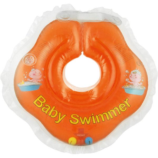 Круг для купания с погремушкой внутри BabySwimmer, оранжевыйТовары для купания<br>Круг для купания Baby Swimmer с погремушкой – улучшенная вариация классической одноименной модели. Отличительная особенность – погремушка внутри круга. Устройство обеспечит безопасность купания малыша, избавит  от страха воды и сделает водные процедуры веселой игрой. У круга есть устройство, поддерживающее подбородок, что позволит избежать проглатывание воды малышом. У круга яркие цвета, необычный дизайн и веселые картинки по бокам, которые понравится всем детям. Все материалы, использованные при разработке и изготовлении круга для купания безопасны для использования, отвечают всем требованиям экологичности и качества детских товаров, а так же гипоаллергенны.<br><br>Дополнительная информация:<br><br>модель: Baby Swimmer;<br>цвет: оранжевый.<br><br>Круг для купания с погремушкой внутри Baby Swimmer можно приобрести в нашем магазине.<br><br>Ширина мм: 150<br>Глубина мм: 40<br>Высота мм: 150<br>Вес г: 140<br>Возраст от месяцев: 0<br>Возраст до месяцев: 24<br>Пол: Унисекс<br>Возраст: Детский<br>SKU: 4968100
