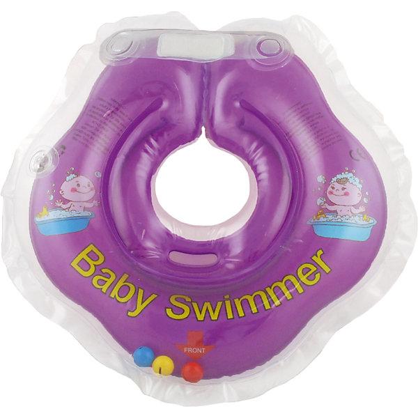 Круг для купания с погремушкой внутри BabySwimmer, фиолетовыйТовары для купания<br>Круг для купания Baby Swimmer с погремушкой – улучшенная вариация классической одноименной модели. Отличительная особенность – погремушка внутри круга. Устройство обеспечит безопасность купания малыша, избавит  от страха воды и сделает водные процедуры веселой игрой. У круга есть устройство, поддерживающее подбородок, что позволит избежать проглатывание воды малышом. У круга яркие цвета, необычный дизайн и веселые картинки по бокам, которые понравится всем детям. Все материалы, использованные при разработке и изготовлении круга для купания безопасны для использования, отвечают всем требованиям экологичности и качества детских товаров, а так же гипоаллергенны.<br><br>Дополнительная информация:<br><br>модель: Baby Swimmer;<br>цвет: фиолетовый.<br><br>Круг для купания с погремушкой внутри Baby Swimmer можно приобрести в нашем магазине.<br><br>Ширина мм: 150<br>Глубина мм: 40<br>Высота мм: 150<br>Вес г: 140<br>Возраст от месяцев: 0<br>Возраст до месяцев: 24<br>Пол: Унисекс<br>Возраст: Детский<br>SKU: 4968102