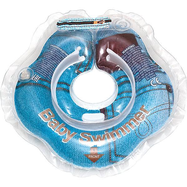 Круг для купания BabySwimmer, ДжинсаТовары для купания<br>Купание младенца - ответственное и важное занятие. Круг для купания Baby Swimmer  с оригинальной расцветкой обеспечит безопасность процесса, избавит малыша от страха воды и сделает водные процедуры веселой игрой. У круга есть устройство, поддерживающее подбородок, что позволит избежать проглатывание воды малышом. У круга яркие цвета, необычный дизайн и веселые картинки по бокам, которые понравится всем детям. Все материалы, использованные при разработке и изготовлении круга для купания безопасны для использования, отвечают всем требованиям экологичности и качества детских товаров, а так же гипоаллергенны.<br><br>Дополнительная информация:<br><br>модель: Baby Swimmer;<br>цвет: джинса.<br><br>Круг для купания Baby Swimmer можно приобрести в нашем магазине.<br>Ширина мм: 150; Глубина мм: 40; Высота мм: 150; Вес г: 160; Возраст от месяцев: 0; Возраст до месяцев: 24; Пол: Унисекс; Возраст: Детский; SKU: 4968104;