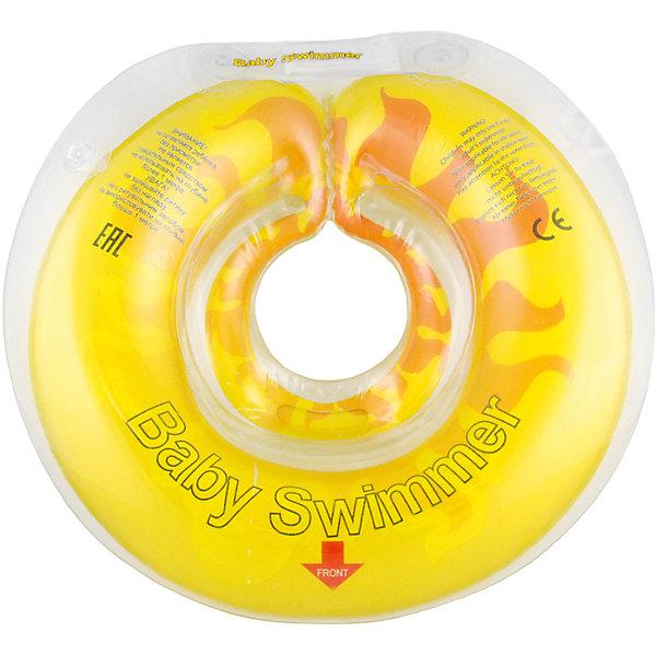 Круг для купания Солнышко BabySwimmer, желтыйТовары для купания<br>Круг в виде солнышка – прекрасная альтернатива стандартной форме. Круг для купания Baby Swimmer  с оригинальной расцветкой обеспечит безопасность купания малыша, избавит от страха воды и сделает водные процедуры веселой игрой. У круга есть устройство, поддерживающее подбородок, что позволит избежать проглатывание воды малышом. У круга яркие цвета, необычный дизайн и веселые картинки по бокам, которые понравится всем детям. Все материалы, использованные при разработке и изготовлении круга для купания безопасны для использования, отвечают всем требованиям экологичности и качества детских товаров, а так же гипоаллергенны.<br><br>Дополнительная информация:<br><br>модель: Солнышко Арбуз Baby Swimmer;<br>цвет: жёлтый.<br><br>Круг для купания Baby Swimmer можно приобрести в нашем магазине.<br><br>Ширина мм: 140<br>Глубина мм: 20<br>Высота мм: 180<br>Вес г: 160<br>Возраст от месяцев: 6<br>Возраст до месяцев: 36<br>Пол: Унисекс<br>Возраст: Детский<br>SKU: 4968111