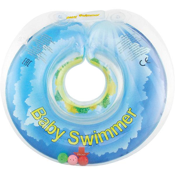 Круг для купания с погремушкой внутри СОЛНЕЧНЫЙ ОСТРОВ BabySwimmer, голубойТовары для купания<br>Интересная расцветка делает плавательный круг любимой деталью купального процесса. Круг для купания Baby Swimmer с погремушкой – улучшенная вариация классической одноименной модели. Отличительная особенность – погремушка внутри круга. Устройство обеспечит безопасность купания малыша, избавит  от страха воды и сделает водные процедуры веселой игрой. У круга есть устройство, поддерживающее подбородок, что позволит избежать проглатывание воды малышом. Все материалы, использованные при разработке и изготовлении круга для купания безопасны для использования, отвечают всем требованиям экологичности и качества детских товаров, а так же гипоаллергенны.<br><br>Дополнительная информация:<br><br>модель: Baby Swimmer;<br>цвет: голубой.<br><br>Круг для купания с погремушкой внутри Baby Swimmer можно приобрести в нашем магазине.<br>Ширина мм: 140; Глубина мм: 30; Высота мм: 180; Вес г: 160; Возраст от месяцев: 6; Возраст до месяцев: 36; Пол: Унисекс; Возраст: Детский; SKU: 4968112;