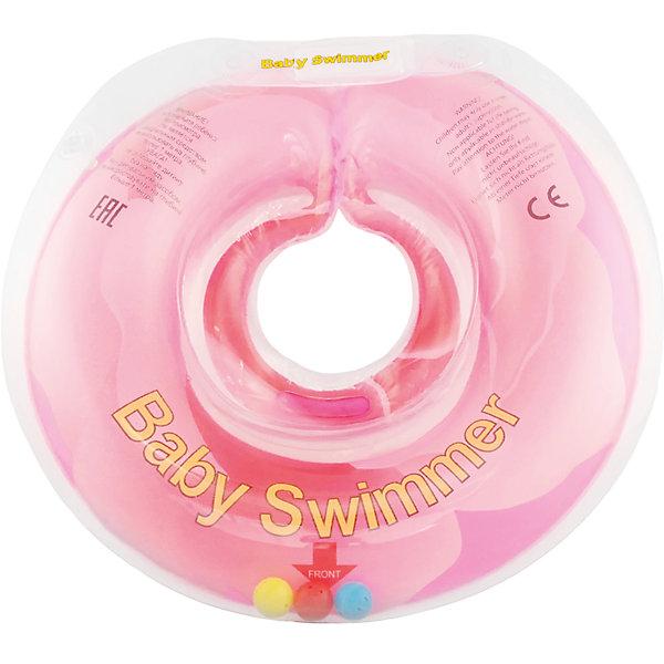 Круг для купания с погремушкой внутри РОЗОВЫЙ БУТОН BabySwimmer, розовыйТовары для купания<br>Интересная расцветка делает плавательный круг любимой деталью купального процесса. Круг для купания Baby Swimmer с погремушкой – улучшенная вариация классической одноименной модели. Отличительная особенность – погремушка внутри круга. Устройство обеспечит безопасность купания малыша, избавит  от страха воды и сделает водные процедуры веселой игрой. У круга есть устройство, поддерживающее подбородок, что позволит избежать проглатывание воды малышом. Все материалы, использованные при разработке и изготовлении круга для купания безопасны для использования, отвечают всем требованиям экологичности и качества детских товаров, а так же гипоаллергенны.<br><br>Дополнительная информация:<br><br>модель: Baby Swimmer;<br>цвет: розовый.<br><br>Круг для купания с погремушкой внутри Baby Swimmer можно приобрести в нашем магазине.<br><br>Ширина мм: 140<br>Глубина мм: 30<br>Высота мм: 180<br>Вес г: 160<br>Возраст от месяцев: 6<br>Возраст до месяцев: 36<br>Пол: Унисекс<br>Возраст: Детский<br>SKU: 4968114