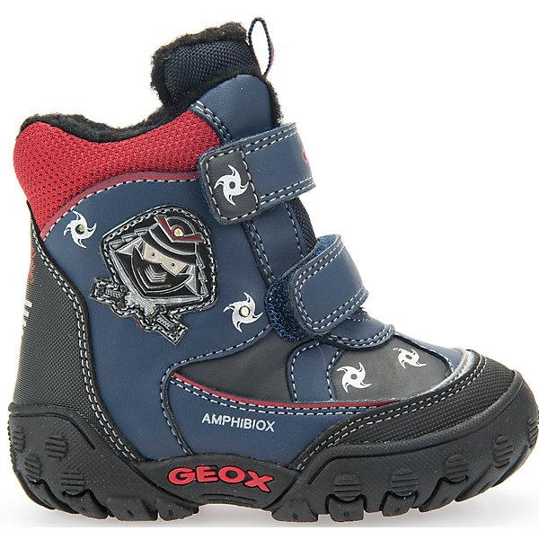 Ботинки со светодиодами для мальчика GeoxБотинки<br>Полусапоги GEOX (ГЕОКС)<br>Полусапоги от GEOX (ГЕОКС) идеально подходят для холодной погоды. Они выполнены из искусственной кожи, декорированы фактурным мультипликационным светящимся изображением. Плотная мягкая подкладка из искусственного меха согревает чувствительные детские ноги. Термоизоляционная «дышащая» стелька с алюминиевым слоем улучшает тепловое сопротивление в холодных условиях, повышая температуру внутри обуви. Влага не застаивается в обуви, благодаря чему создается идеальный микроклимат, который держит ноги теплыми и сухими, и позволяет им дышать естественно. Застежки-липучки облегчают снимание и надевание обуви и надежно фиксируют ее на ногах. Колодка соответствует анатомическим особенностям строения детской стопы. Качественная амортизация снижает нагрузку на суставы. Запатентованная гибкая перфорированная подошва со специальной микропористой мембраной обеспечивает естественное дыхание обуви, не пропускает воду, не скользит.<br><br>Дополнительная информация:<br><br>- Сезон: зима<br>- Цвет: красный, синий<br>- Материал верха: искусственная кожа<br>- Внутренний материал: искусственный мех<br>- Материал стельки: текстиль<br>- Материал подошвы: резина<br>- Тип застежки: липучки<br>- Технология Amphibiox<br>- Материалы и продукция прошли специальную проверку T?V S?D, на отсутствие веществ, опасных для здоровья покупателей<br><br>Полусапоги GEOX (ГЕОКС) можно купить в нашем интернет-магазине.<br>Ширина мм: 257; Глубина мм: 180; Высота мм: 130; Вес г: 420; Цвет: синий/красный; Возраст от месяцев: 18; Возраст до месяцев: 21; Пол: Мужской; Возраст: Детский; Размер: 23,24,27,26,25; SKU: 4968218;