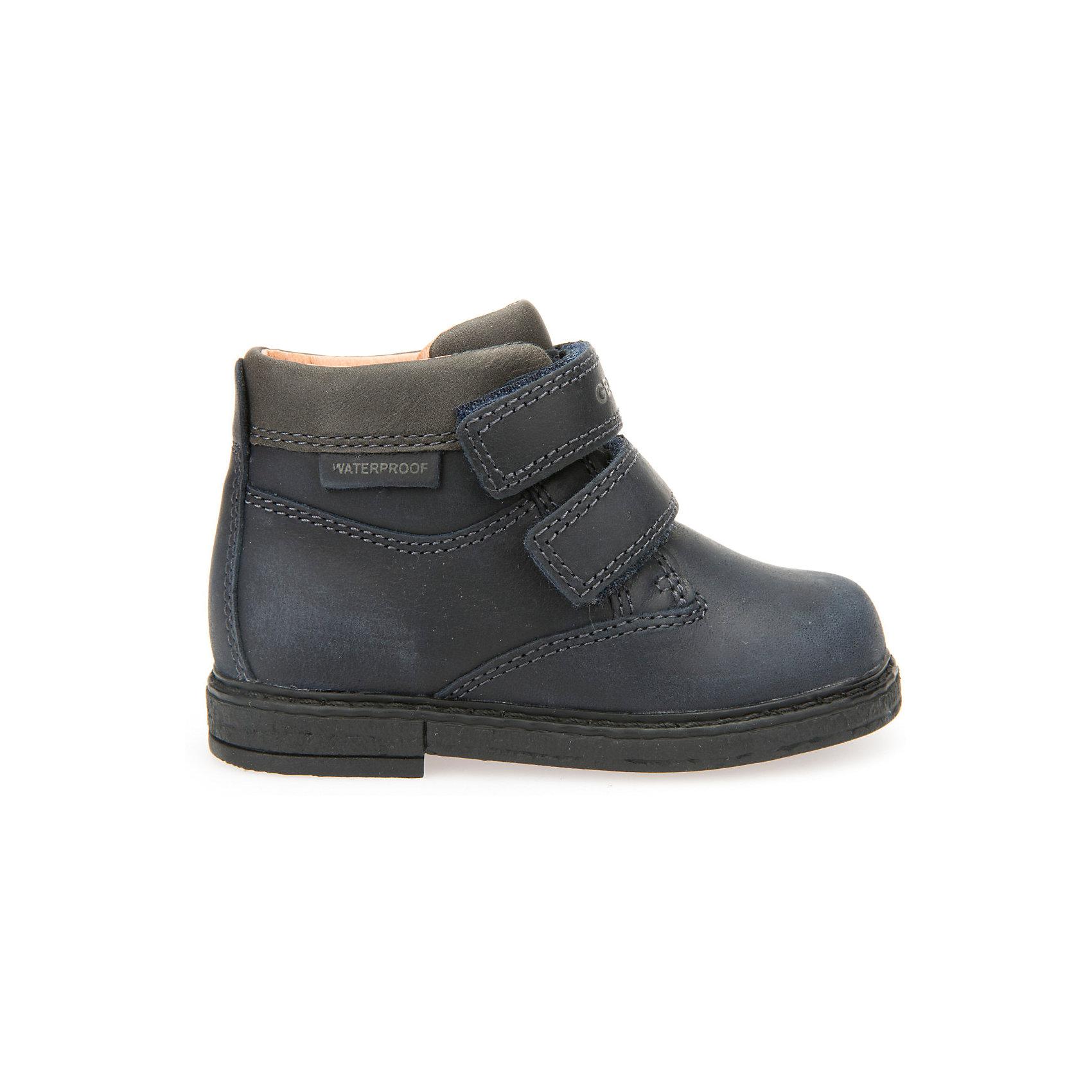 Ботинки для мальчика GEOXОбувь для малышей<br>Ботинки для мальчика GEOX (ГЕОКС)<br>Ботинки для мальчика от GEOX (ГЕОКС) выполнены из натуральной кожи. Внутренняя отделка и стелька из натуральной шерсти создают оптимальный микроклимат, который держит ноги теплыми и сухими, и позволяет им дышать естественно. Колодка соответствует анатомическим особенностям строения детской стопы. Запатентованная гибкая перфорированная подошва со специальной микропористой мембраной обеспечивает естественное дыхание обуви, не пропускает воду. Застежка: липучки.<br><br>Дополнительная информация:<br><br>- Сезон: демисезон<br>- Цвет: черный<br>- Материал верха: натуральная кожа<br>- Внутренний материал: натуральная шерсть<br>- Материал стельки: натуральная шерсть<br>- Материал подошвы: полимер<br>- Тип застежки: липучки<br>- Материалы и продукция прошли специальную проверку T?V S?D, на отсутствие веществ, опасных для здоровья покупателей<br><br>Полусапоги GEOX (ГЕОКС) можно купить в нашем интернет-магазине.<br><br>Ширина мм: 257<br>Глубина мм: 180<br>Высота мм: 130<br>Вес г: 420<br>Цвет: синий<br>Возраст от месяцев: 21<br>Возраст до месяцев: 24<br>Пол: Мужской<br>Возраст: Детский<br>Размер: 24,27,23,25,26<br>SKU: 4968236