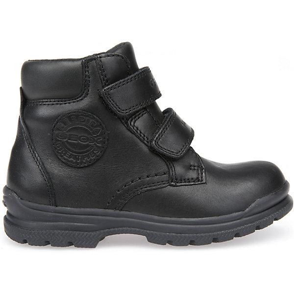 Ботинки для мальчика GeoxБотинки<br>Полусапоги GEOX (ГЕОКС)<br>Полусапоги для мальчика от GEOX (ГЕОКС) выполнены из натуральной кожи, внутренняя отделка и теплая стелька из текстиля. Влага не застаивается в обуви, благодаря чему создается идеальный микроклимат, который держит ноги теплыми и сухими и позволяет им дышать естественно. Застежки-липучки облегчают снимание и надевание обуви и надежно фиксируют ее на ногах. Колодка соответствует анатомическим особенностям строения детской стопы. Качественная амортизация снижает нагрузку на суставы. Запатентованная гибкая перфорированная подошва со специальной микропористой мембраной обеспечивает естественное дыхание обуви, не пропускает воду.<br><br>Дополнительная информация:<br><br>- Сезон: демисезон<br>- Цвет: черный<br>- Материал верха: натуральная кожа<br>- Внутренний материал: текстиль<br>- Материал стельки: текстиль<br>- Материал подошвы: резина<br>- Высота голенища/задника: 9,7 см.<br>- Тип застежки: липучки<br>- Технология Amphibiox<br>- Материалы и продукция прошли специальную проверку T?V S?D, на отсутствие веществ, опасных для здоровья покупателей<br><br>Полусапоги GEOX (ГЕОКС) можно купить в нашем интернет-магазине.<br><br>Ширина мм: 257<br>Глубина мм: 180<br>Высота мм: 130<br>Вес г: 420<br>Цвет: черный<br>Возраст от месяцев: 48<br>Возраст до месяцев: 60<br>Пол: Мужской<br>Возраст: Детский<br>Размер: 28,34,33,32,31,30,29<br>SKU: 4968319