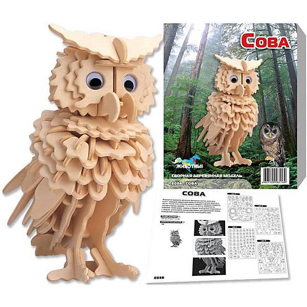 Сова, Мир деревянных игрушекДеревянные модели<br>Развивать свои способности ребенок может, собирая деревянные фигуры! Специально для любящих творчество и интересующихся животным миром были разработаны эти 3D-пазлы. Из них получаются красивые очень реалистичные фигуры, которые могут стать украшением комнаты.<br>Собирая их, ребенок будет учиться соотносить фигуры, развивать пространственное мышление, память и мелкую моторику. А раскрашивая готовое произведение, дети научатся подбирать цвета и будут развивать художественные навыки. Этот набор произведен из качественных и безопасных для детей материалов - дерево тщательно обработано.<br><br>Дополнительная информация:<br><br>материал: дерево;<br>цвет: бежевый;<br>элементы: четыре пластины с деталями для сборки;<br>размер пластины: 23 х 18 х 1 см.<br><br>3D-пазл Сова от бренда Мир деревянных игрушек можно купить в нашем магазине.<br><br>Ширина мм: 220<br>Глубина мм: 30<br>Высота мм: 180<br>Вес г: 200<br>Возраст от месяцев: 36<br>Возраст до месяцев: 144<br>Пол: Унисекс<br>Возраст: Детский<br>SKU: 4969026